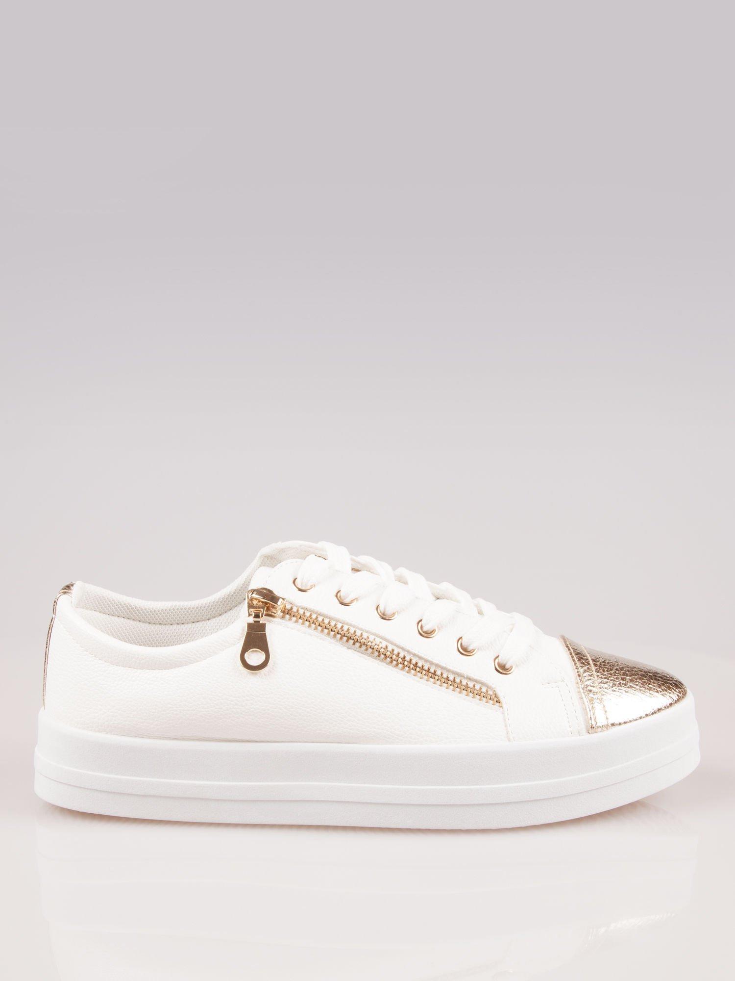 Białe trampki damskie gold cap toe z suwakiem z boku Rallie                                  zdj.                                  1