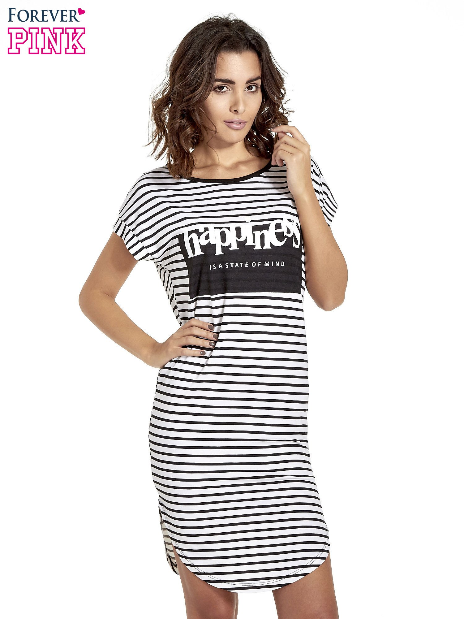 Biało-czarna sukienka w paski z napisem HAPPINESS                                  zdj.                                  1