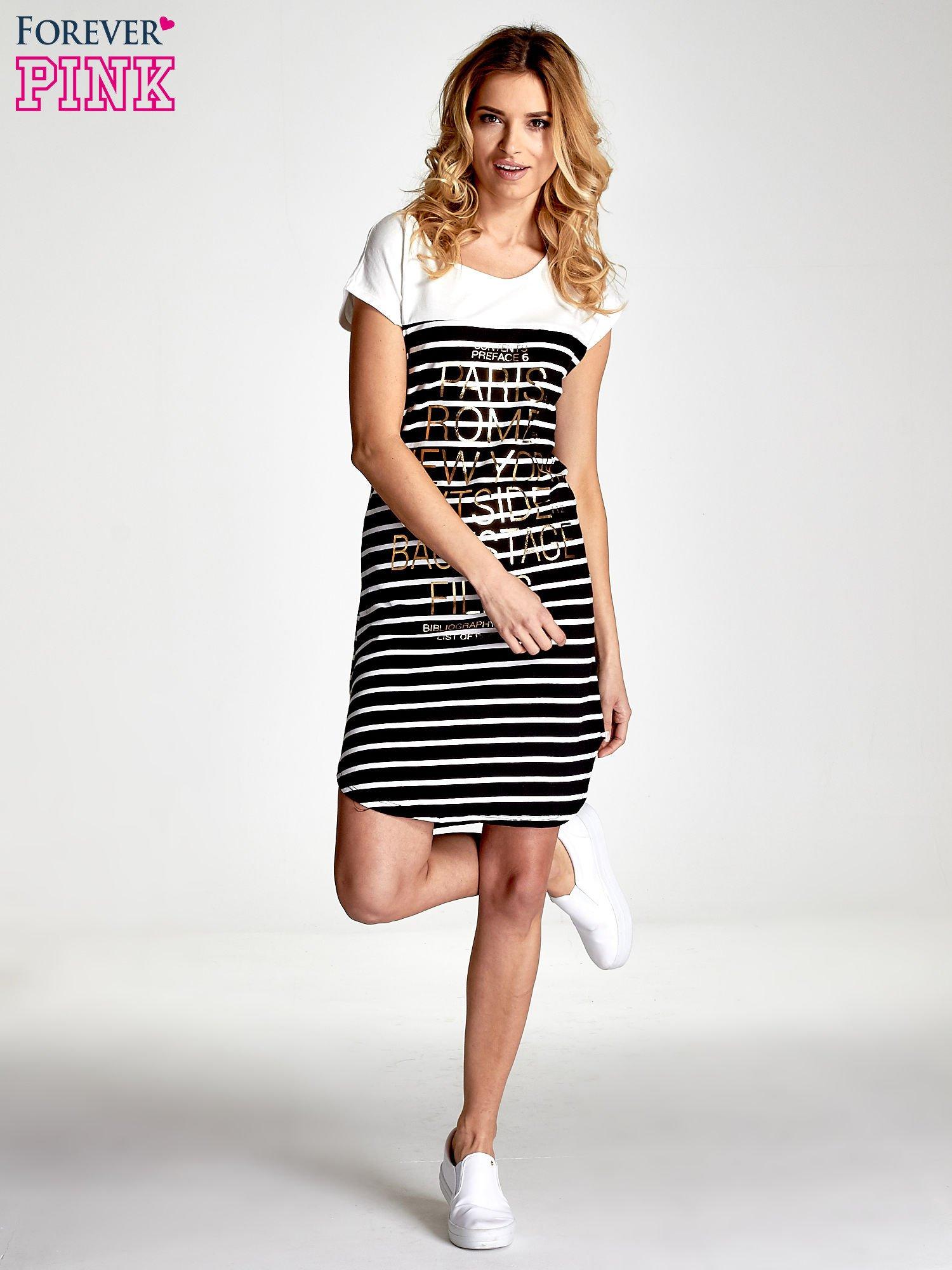 Biało-czarna sukienka w paski z napisem w stylu city                                  zdj.                                  2