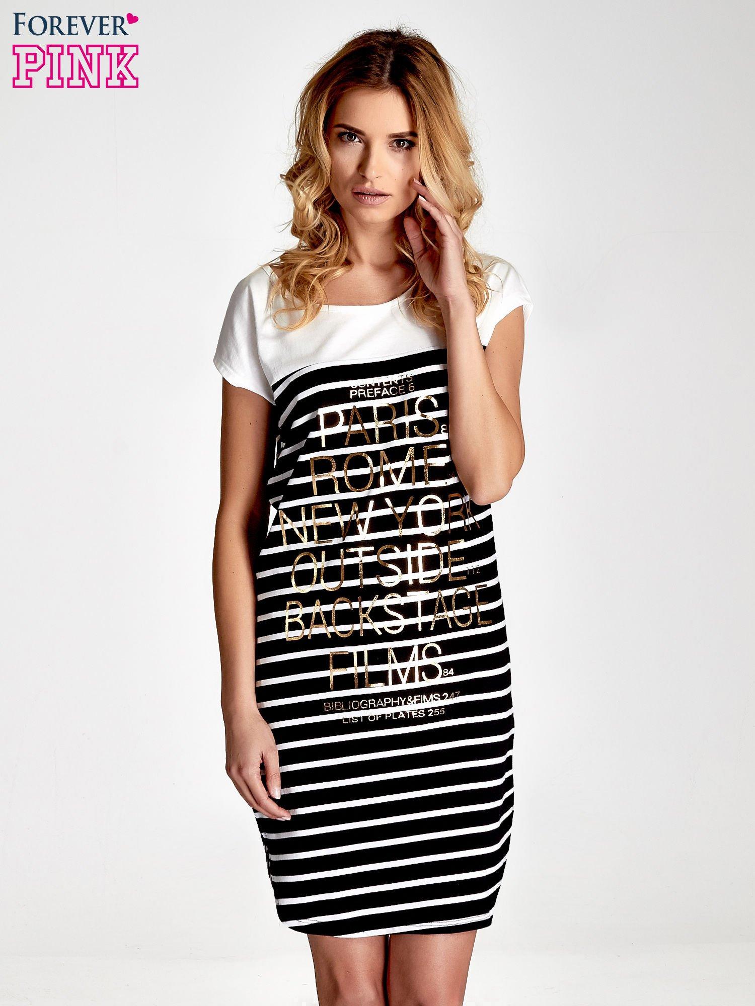 Biało-czarna sukienka w paski z napisem w stylu city                                  zdj.                                  1
