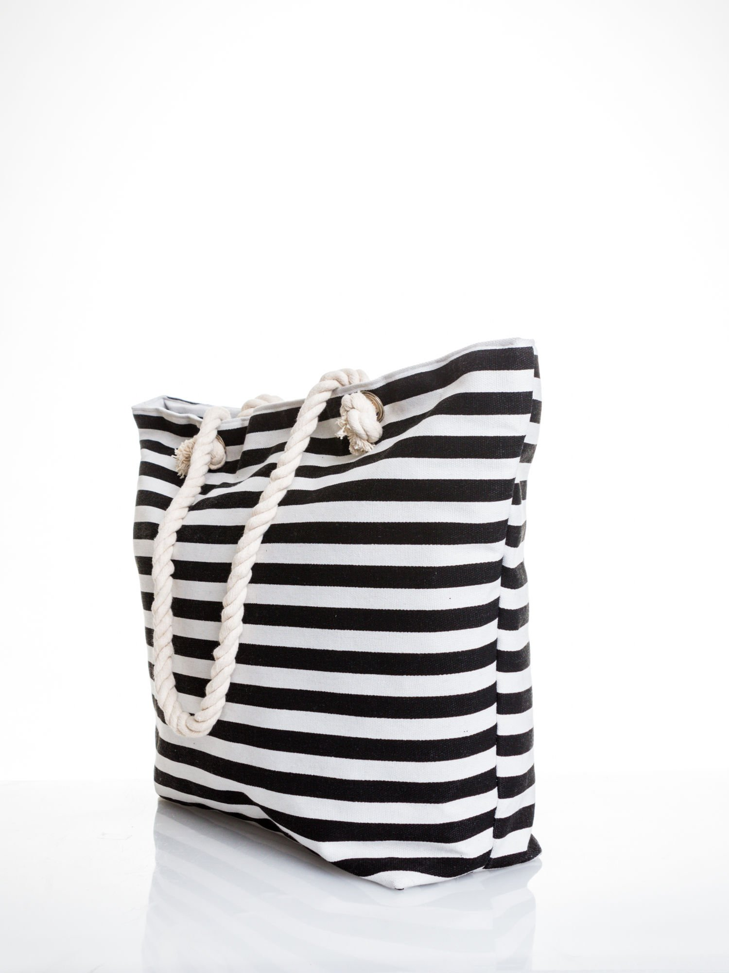 Biało-czarna torba plażowa w paski                                  zdj.                                  4
