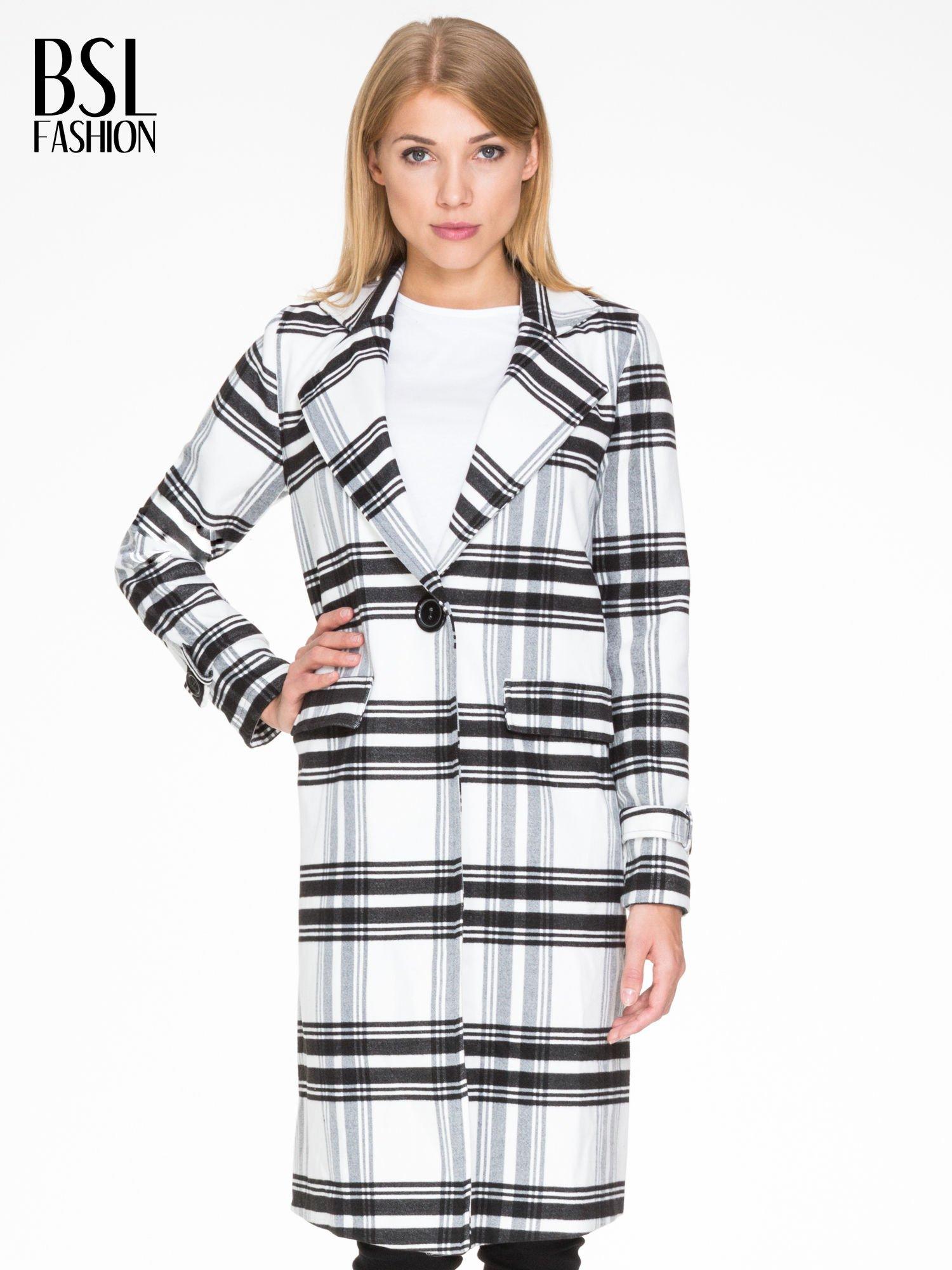 Biało-czarny wełniany płaszcz w kratę zapinany na jeden guzik                                  zdj.                                  1