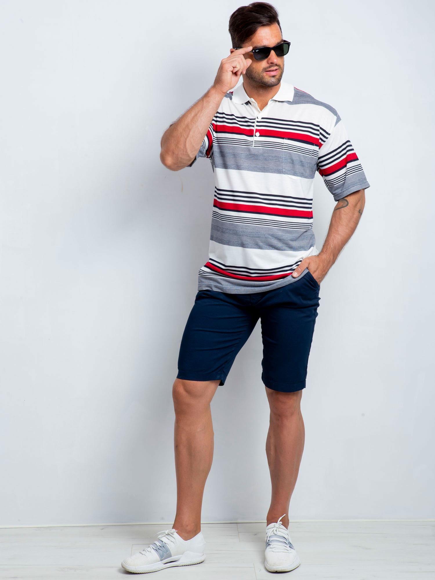 Biało-granatowa koszulka polo męska plus size Individual ...