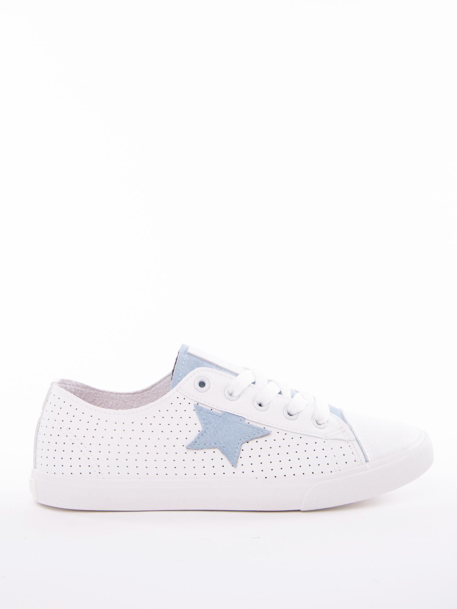 Biało niebieskie ażurowe tenisówki BIG STAR z gwiazdkami