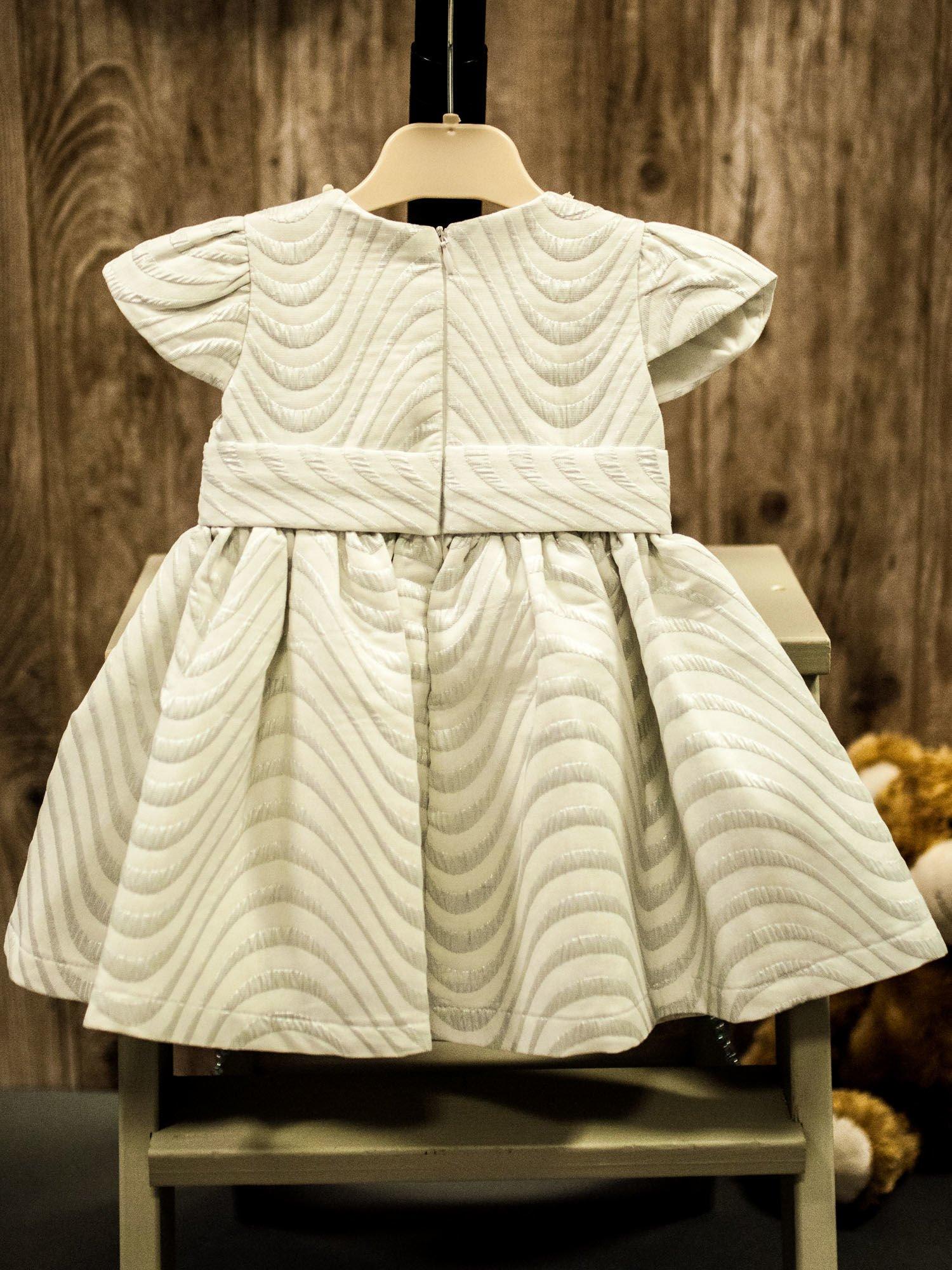 42bceee189 Biało-szara wizytowa sukienka dziewczęca z opaską - Dziecko ...