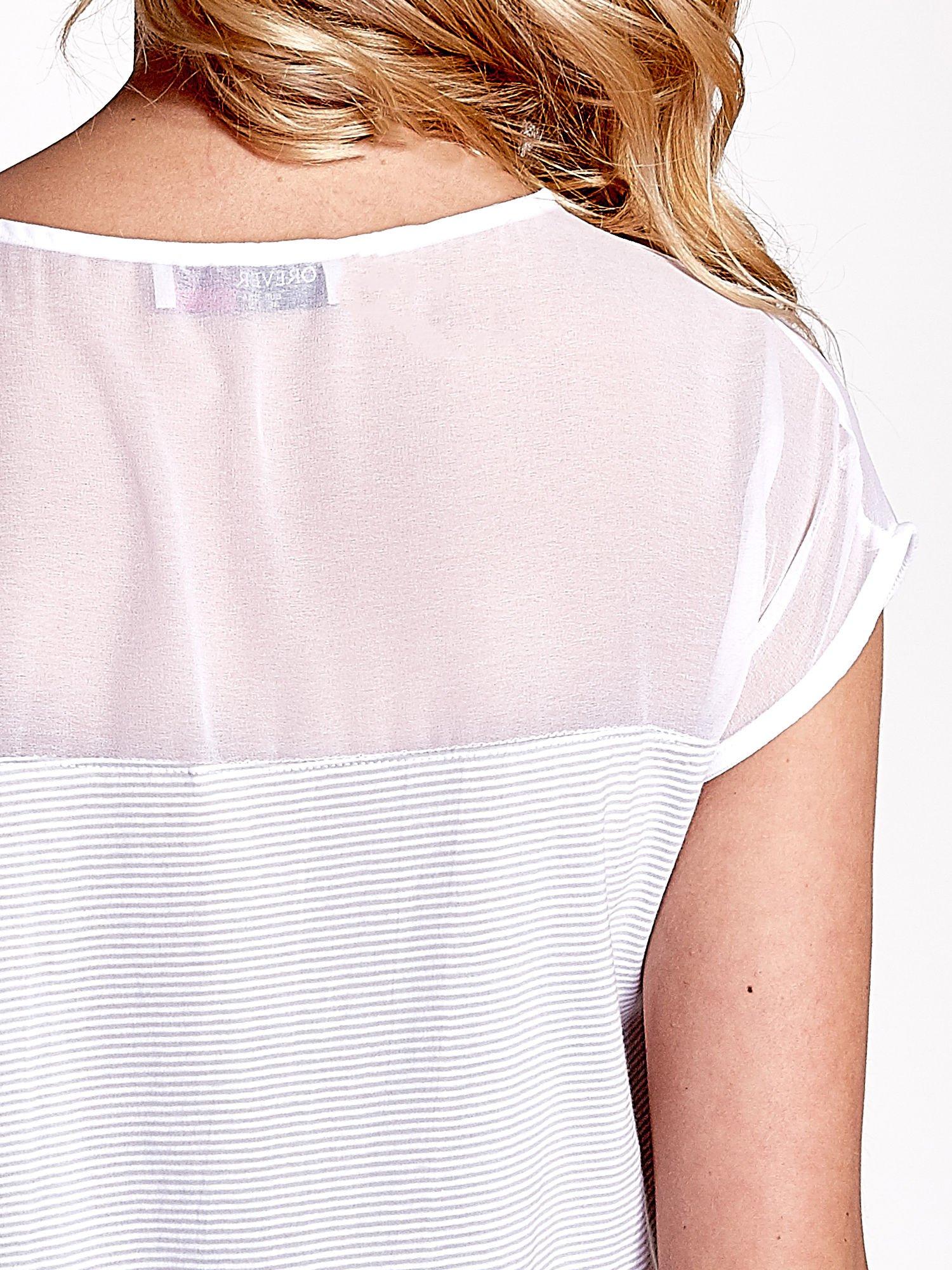 Biało-szary t-shirt z tiulowym wykończeniem                                  zdj.                                  6