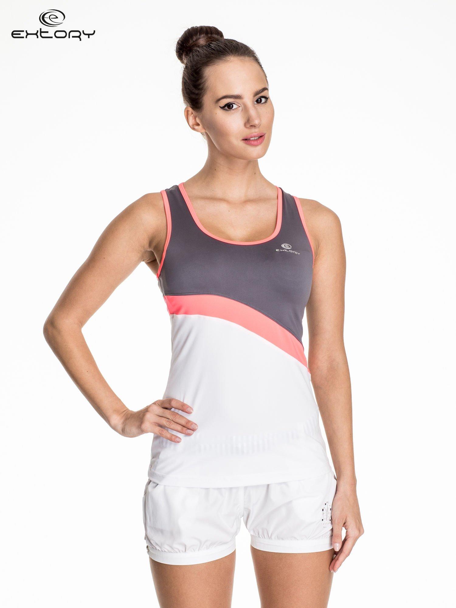 Biały damski top sportowy z szaro-różowym modułem                                  zdj.                                  1