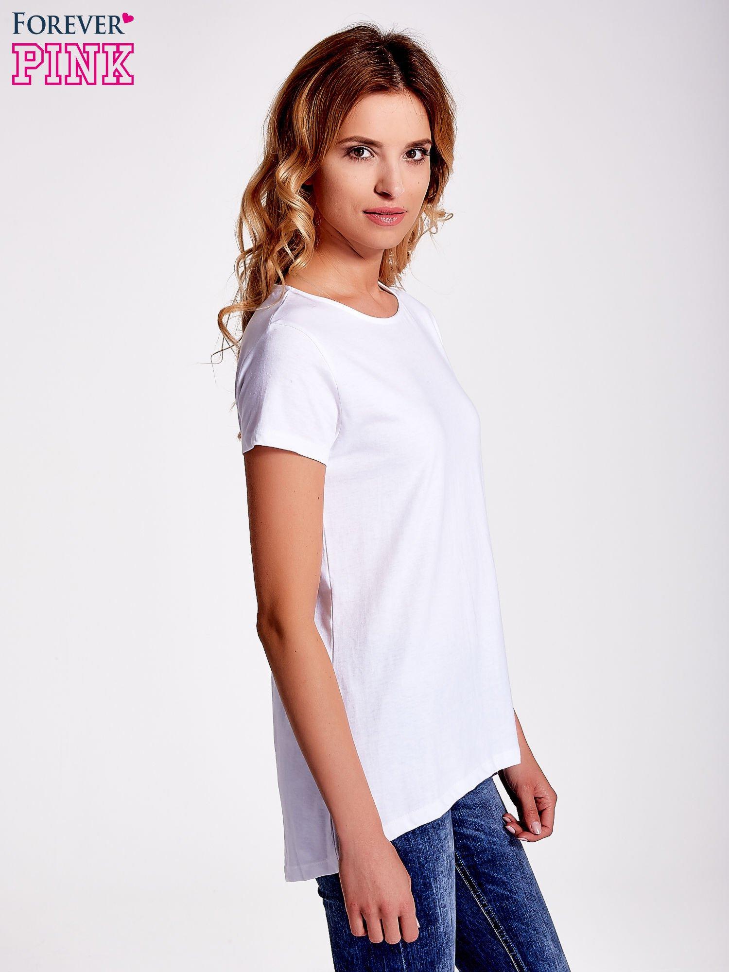 Biały jednolity t-shirt                                  zdj.                                  3