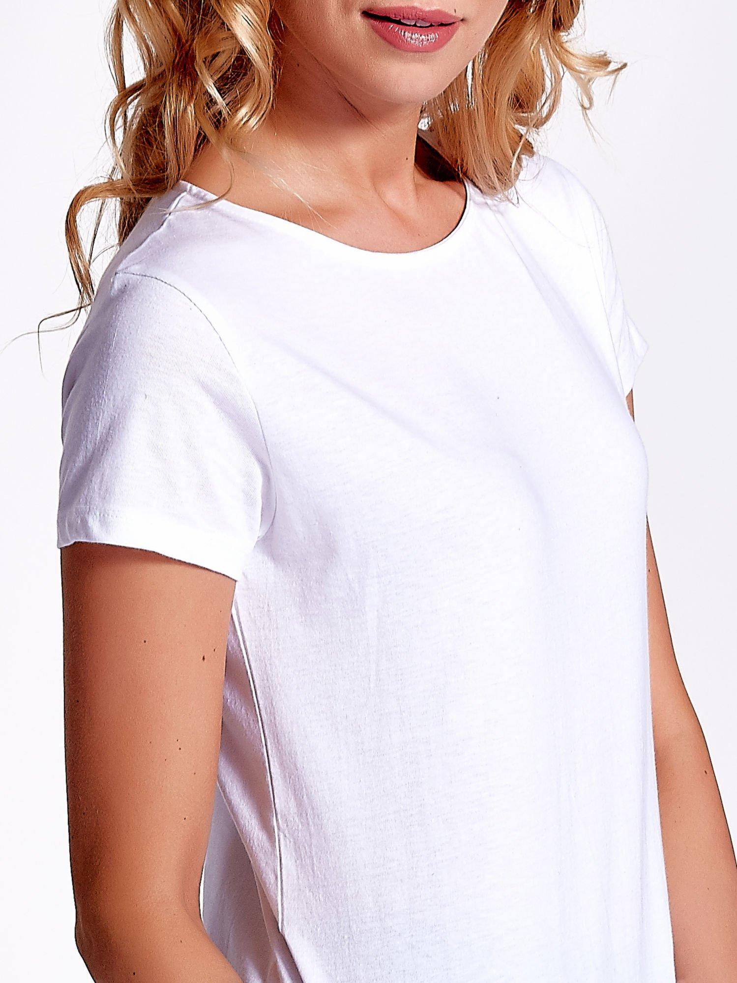 Biały jednolity t-shirt                                  zdj.                                  5