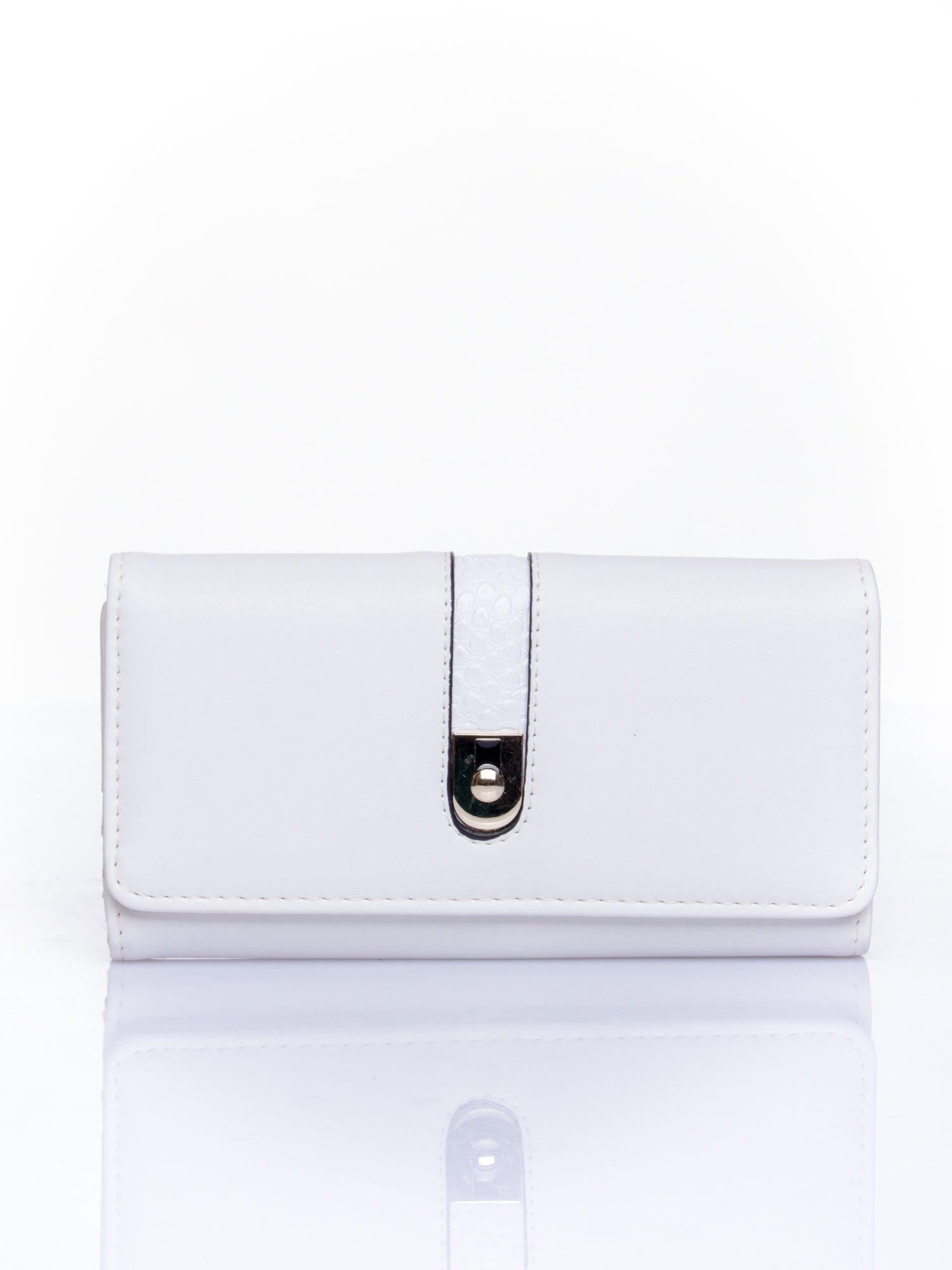 Biały portfel ze złotym zapięciem                                   zdj.                                  1