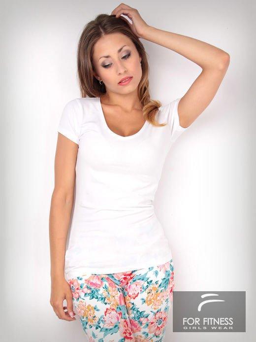 Biały t-shirt bawełniany For Fitness                                  zdj.                                  1