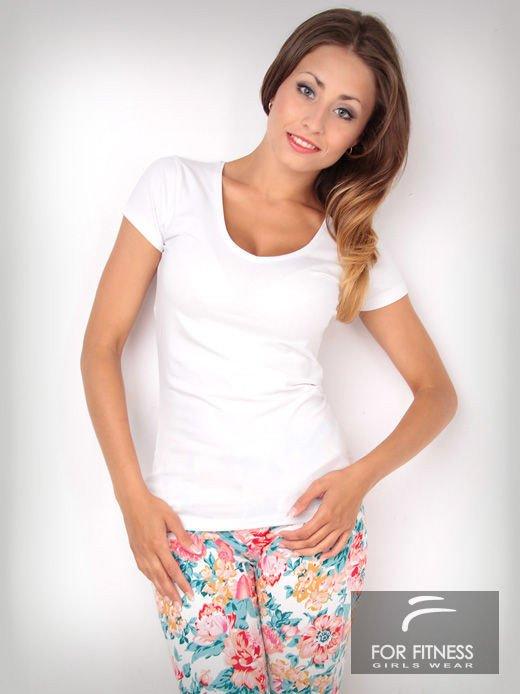 Biały t-shirt bawełniany For Fitness                                  zdj.                                  2