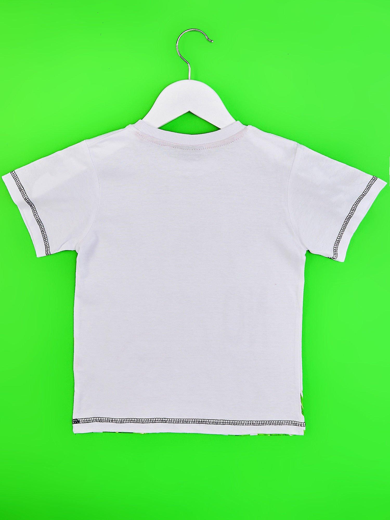 Biały t-shirt chłopięcy z żyrafą i napisem NO PICTURE                                  zdj.                                  2