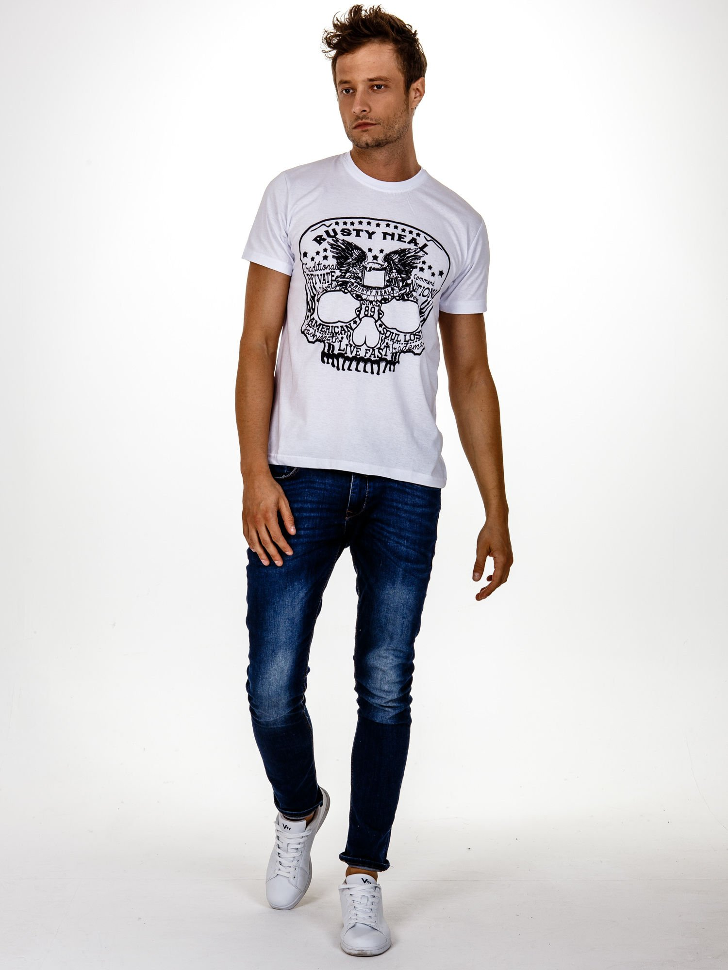 Biały t-shirt męski z nadrukiem czaszki i napisami                                  zdj.                                  4