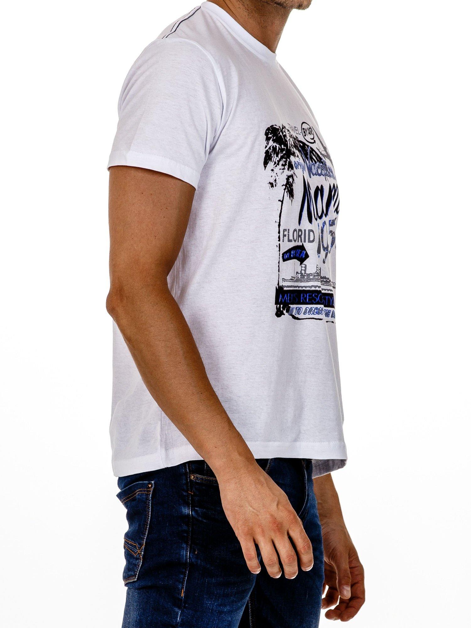 Biały t-shirt męski z nadrukiem napisów MIAMI FLORIDA 1955                                  zdj.                                  3