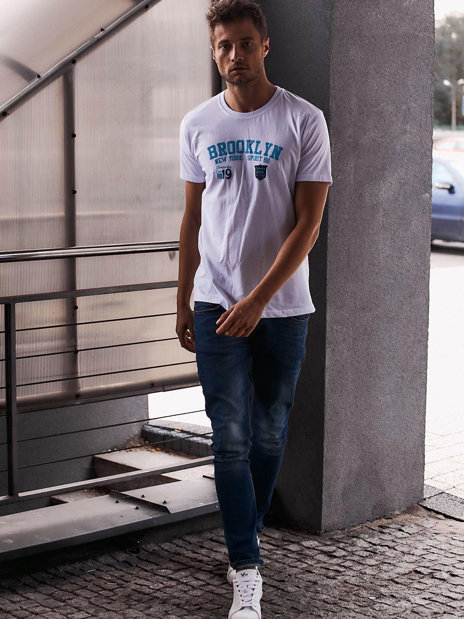 Biały t-shirt męski z napisami BROOKLYN NEW YORK SPIRIT 86                                  zdj.                                  6