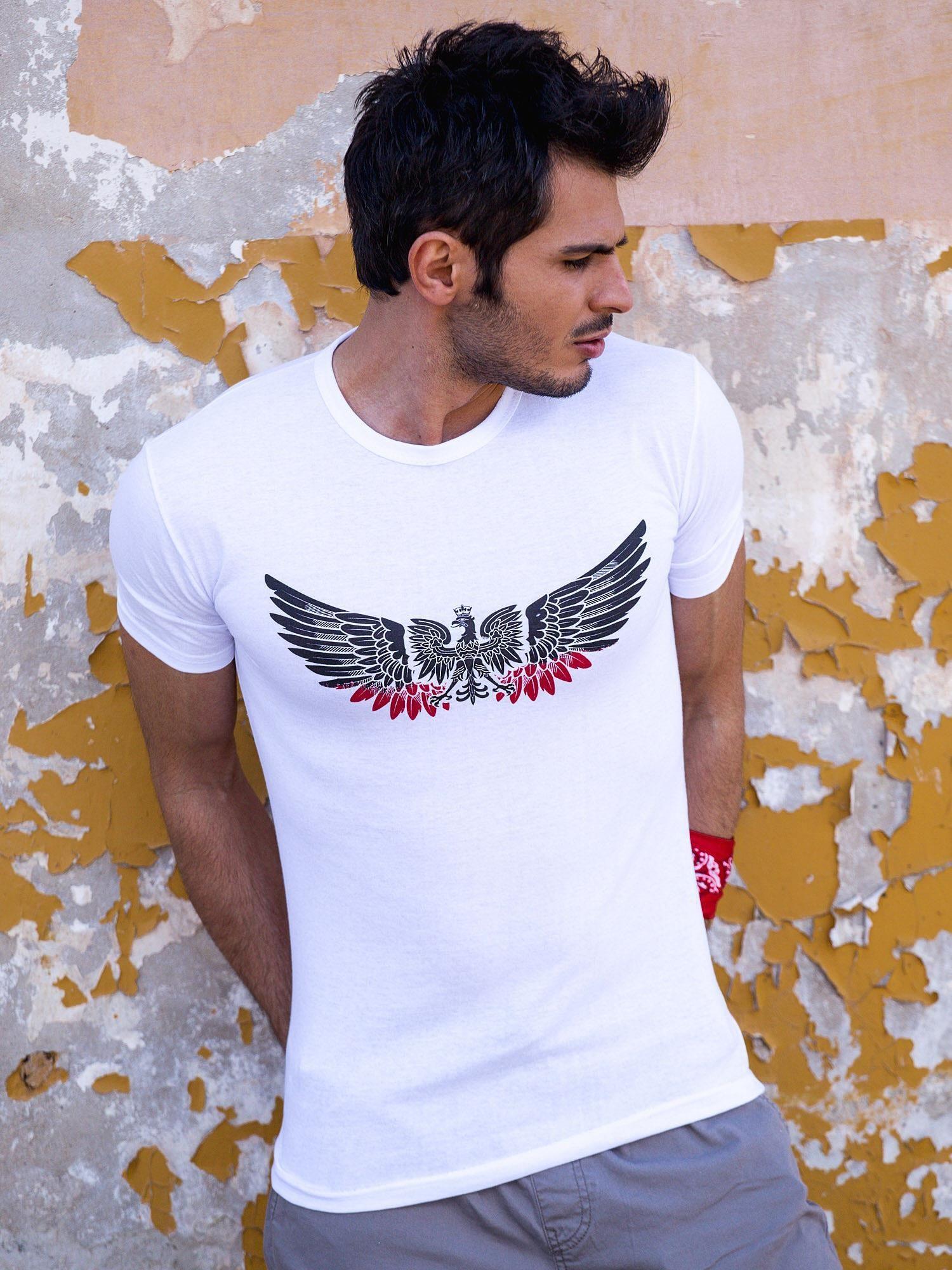 640f4e1cd3b2 Biały t-shirt męski z orłem - Mężczyźni T-shirt męski - sklep eButik.pl