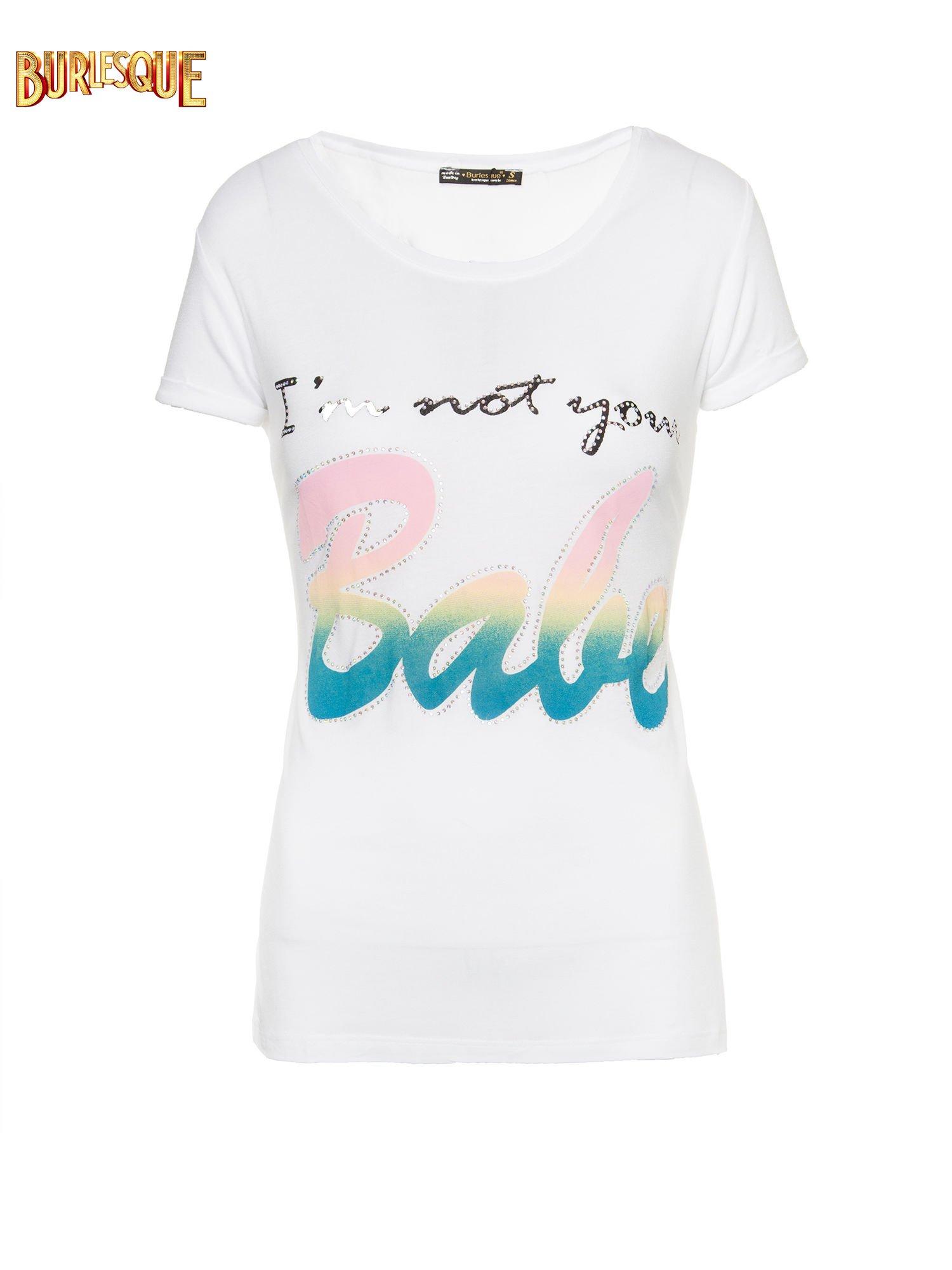 Biały t-shirt z kolorowym nadrukiem I'M NOT YOUR BABE                                  zdj.                                  7