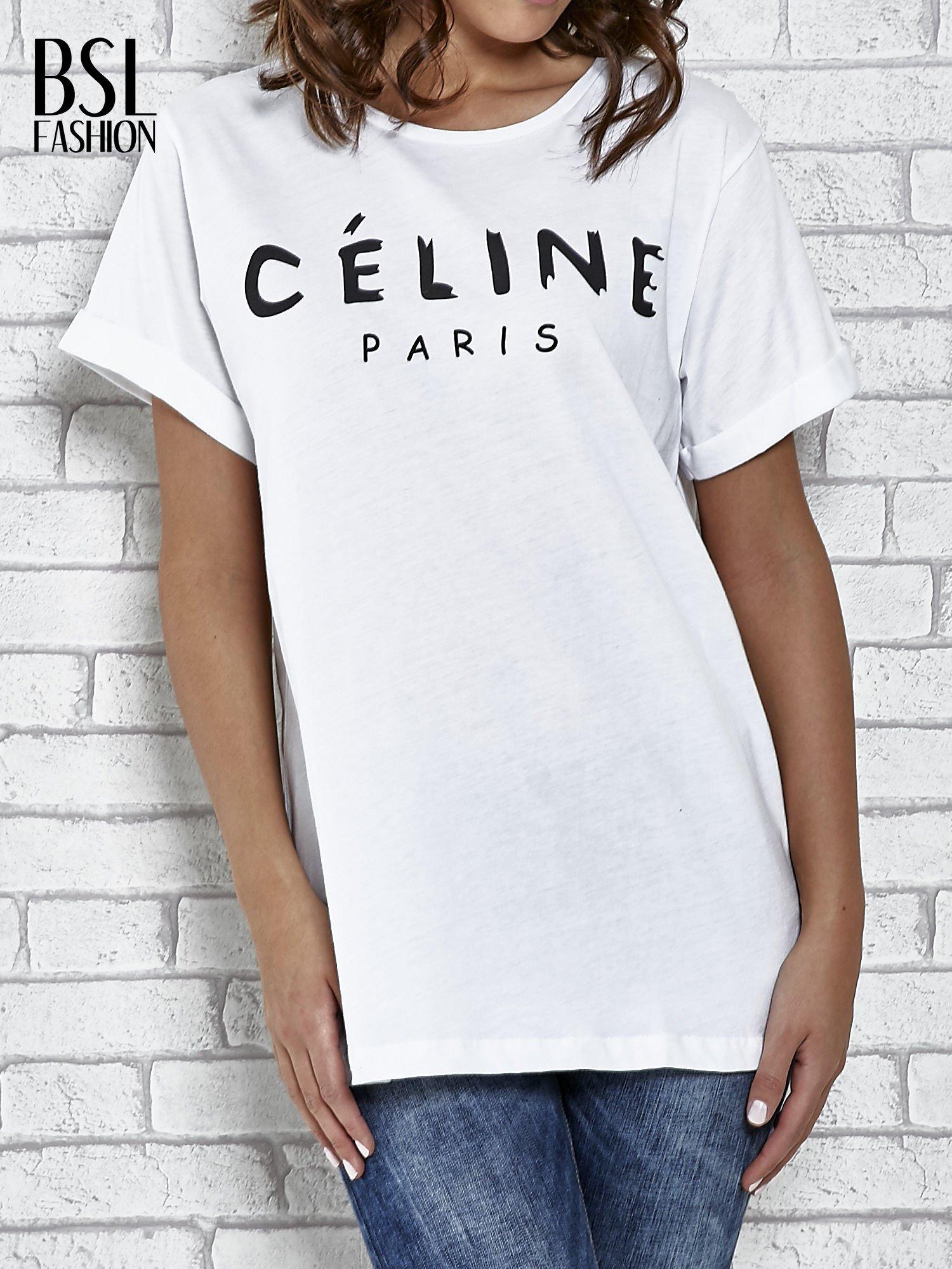 Biały t-shirt z modowym napisem CÉLINE PARIS                                  zdj.                                  1