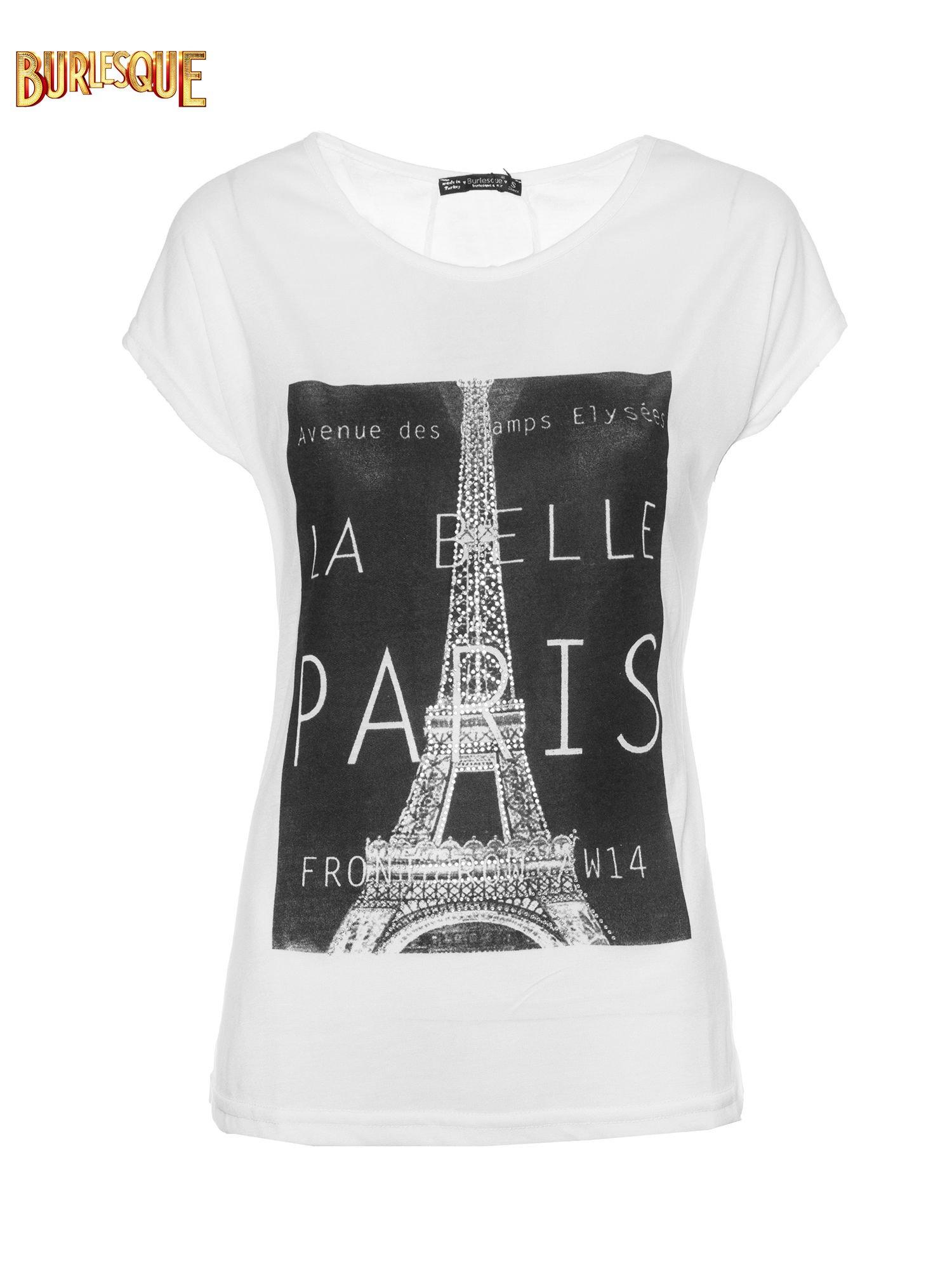 Biały t-shirt z motywem Paryża                                  zdj.                                  6