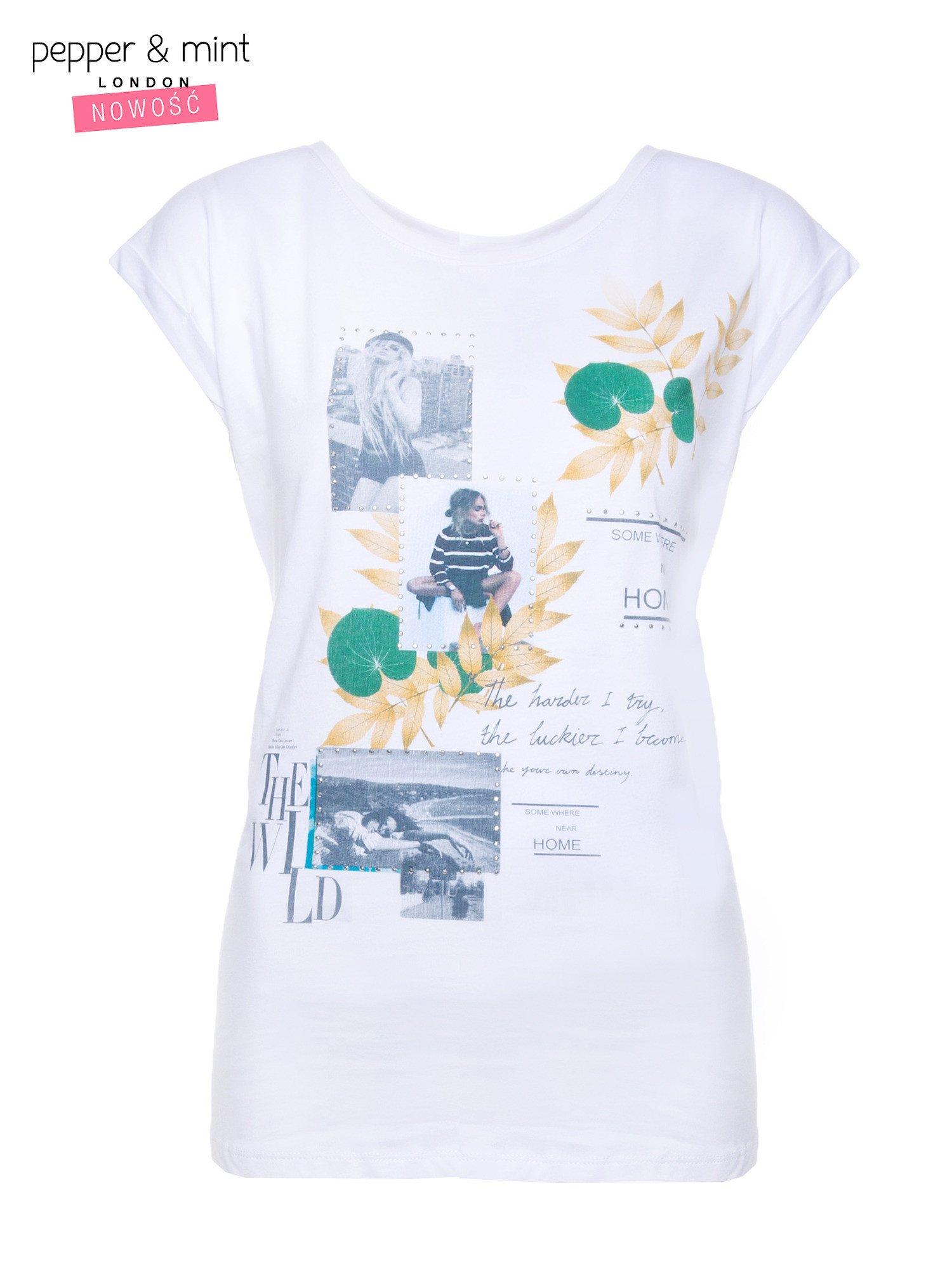 Biały t-shirt z nadrukiem i wydłużanym tyłem                                  zdj.                                  4