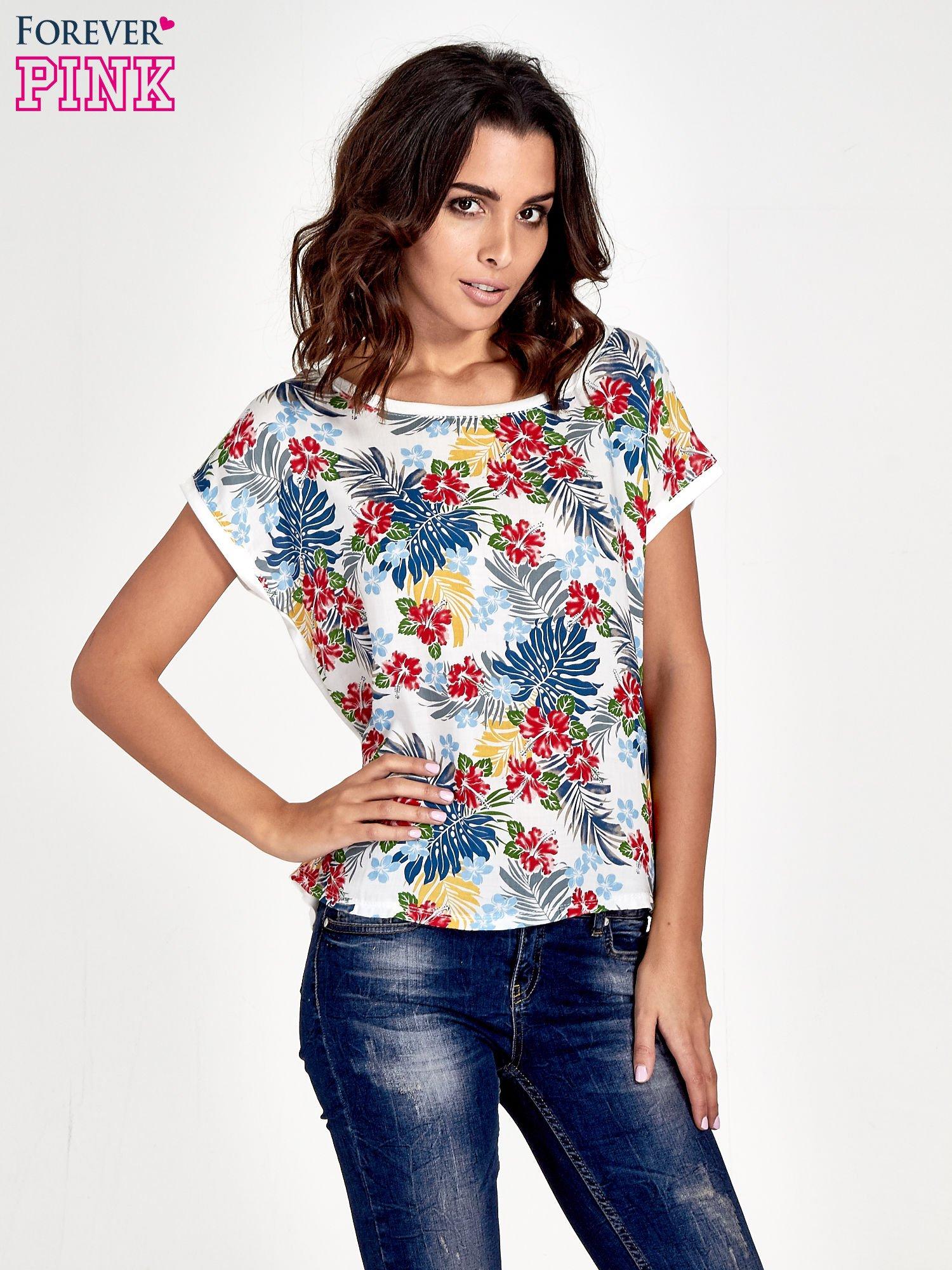 Biały t-shirt z nadrukiem kwiatowym                                  zdj.                                  1