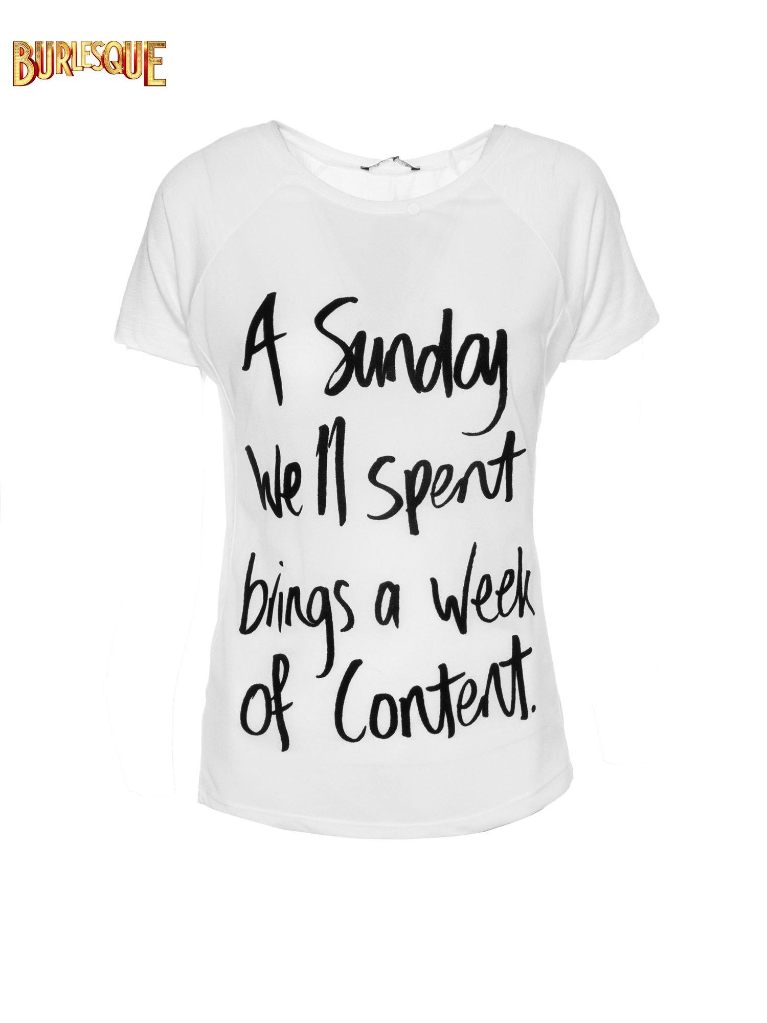 Biały t-shirt z napisem A SUNDAY                                  zdj.                                  1