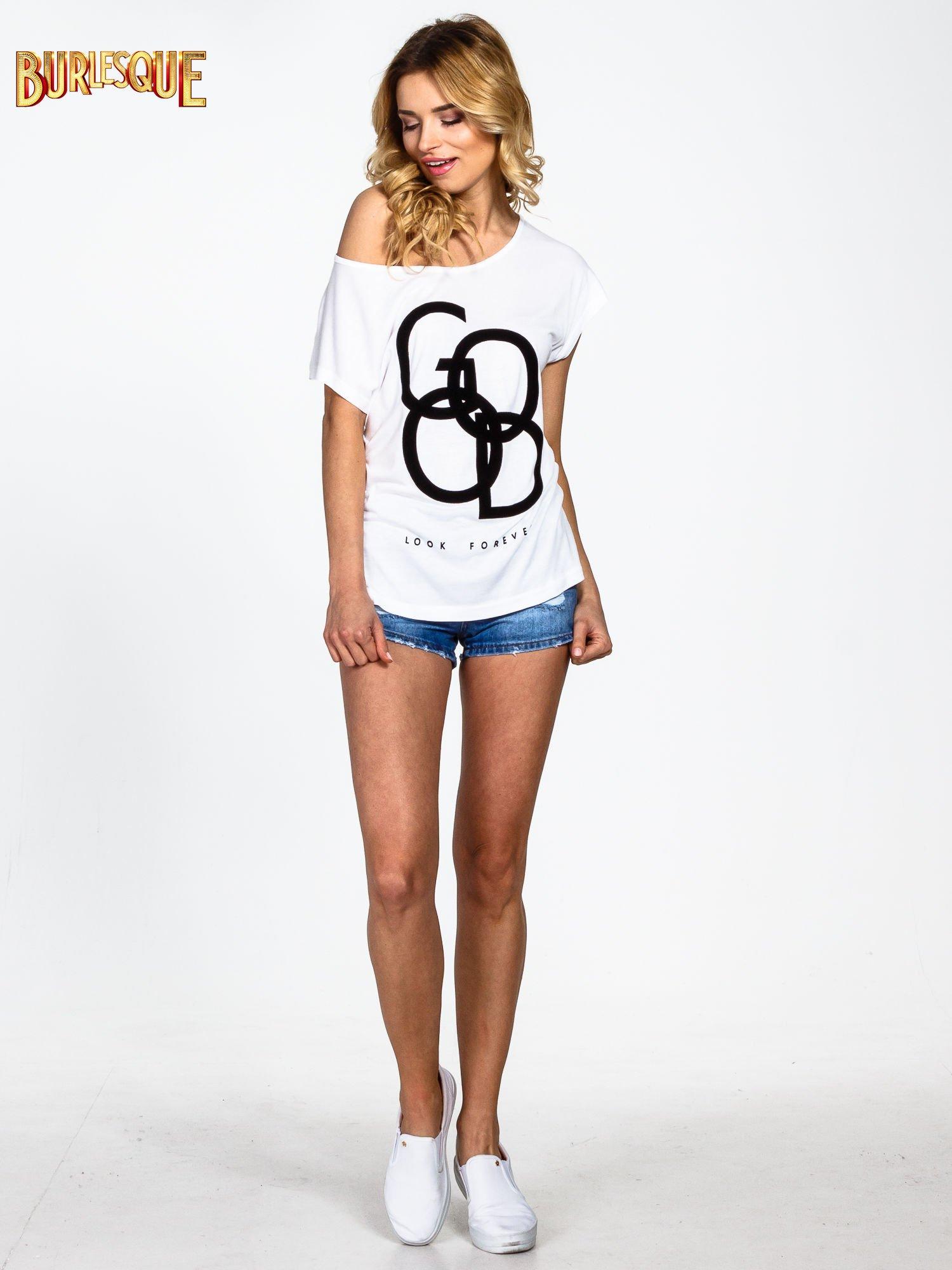 Biały t-shirt z napisem LOOK GOOD FOREVER                                  zdj.                                  6