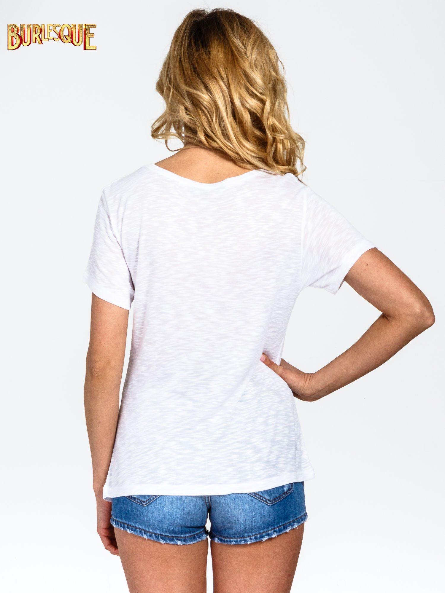Biały t-shirt z napisem POSITIVE MIND z dżetami                                  zdj.                                  4