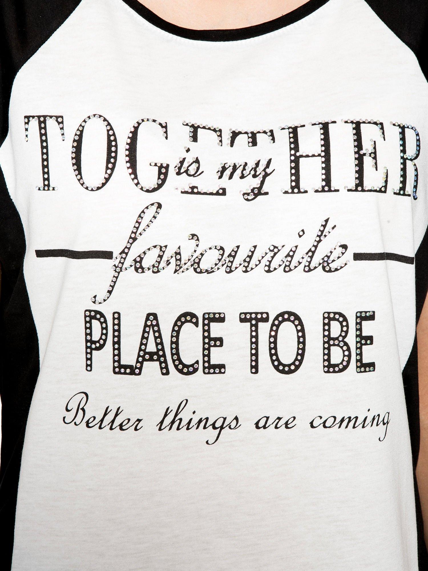 Biały t-shirt z napisem TOGETHER IS MY FAVOURITE PLACE TO BE                                  zdj.                                  8