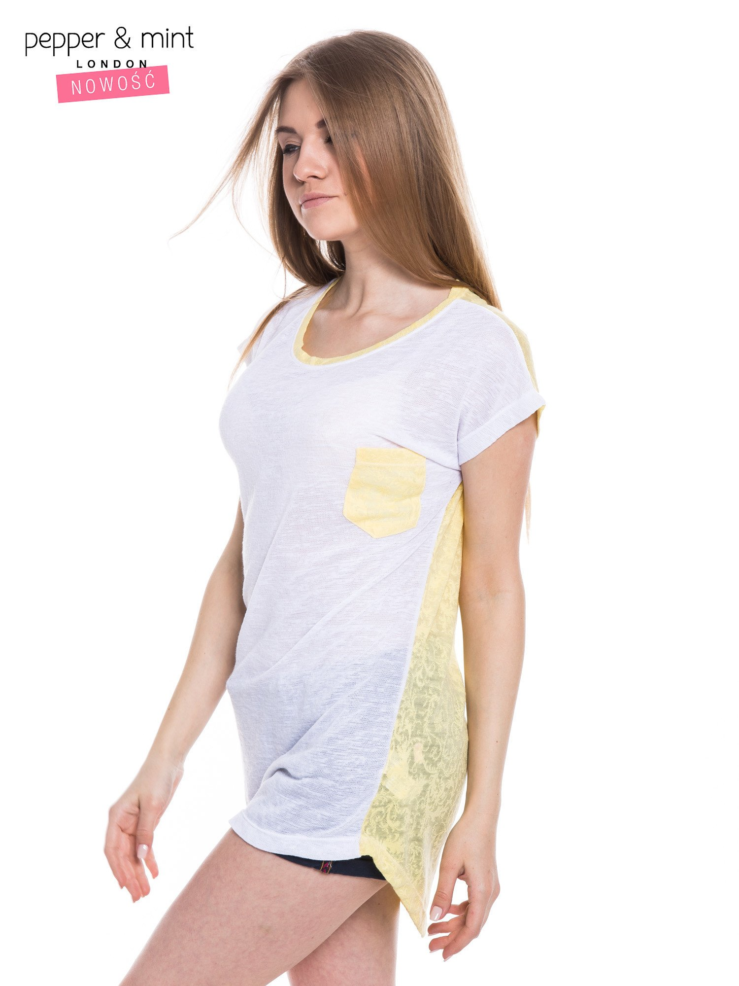 Biały t-shirt z wydłużanym tyłem w kolorze żółtym                                  zdj.                                  2