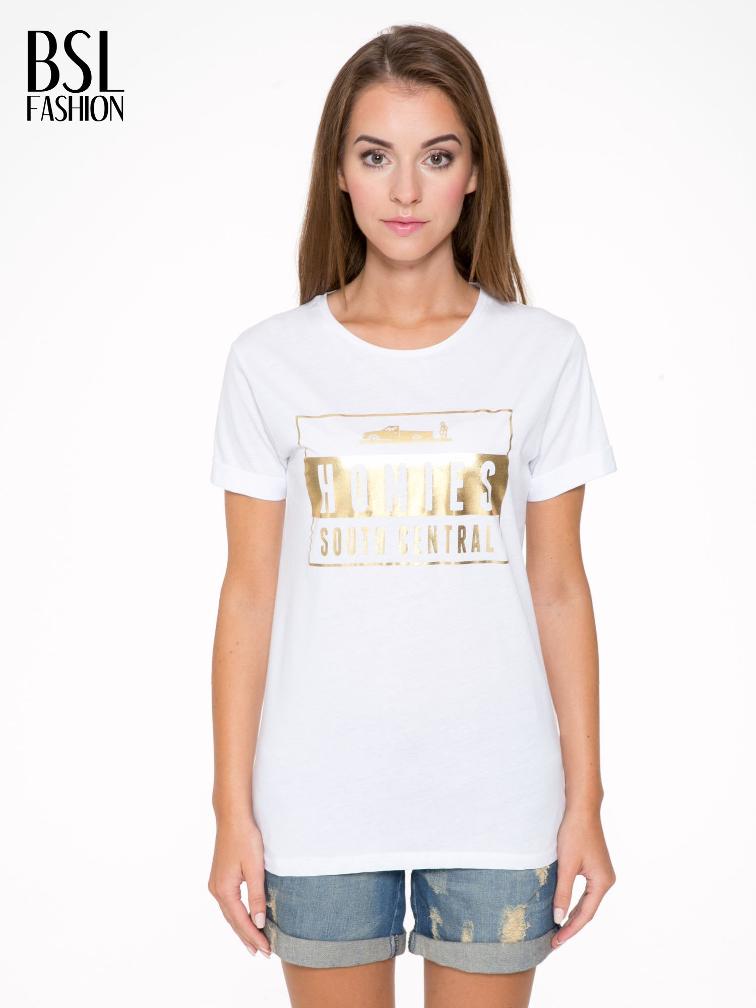 Biały t-shirt ze złotym napisem HOMIES SOUTH CENTRAL                                  zdj.                                  1