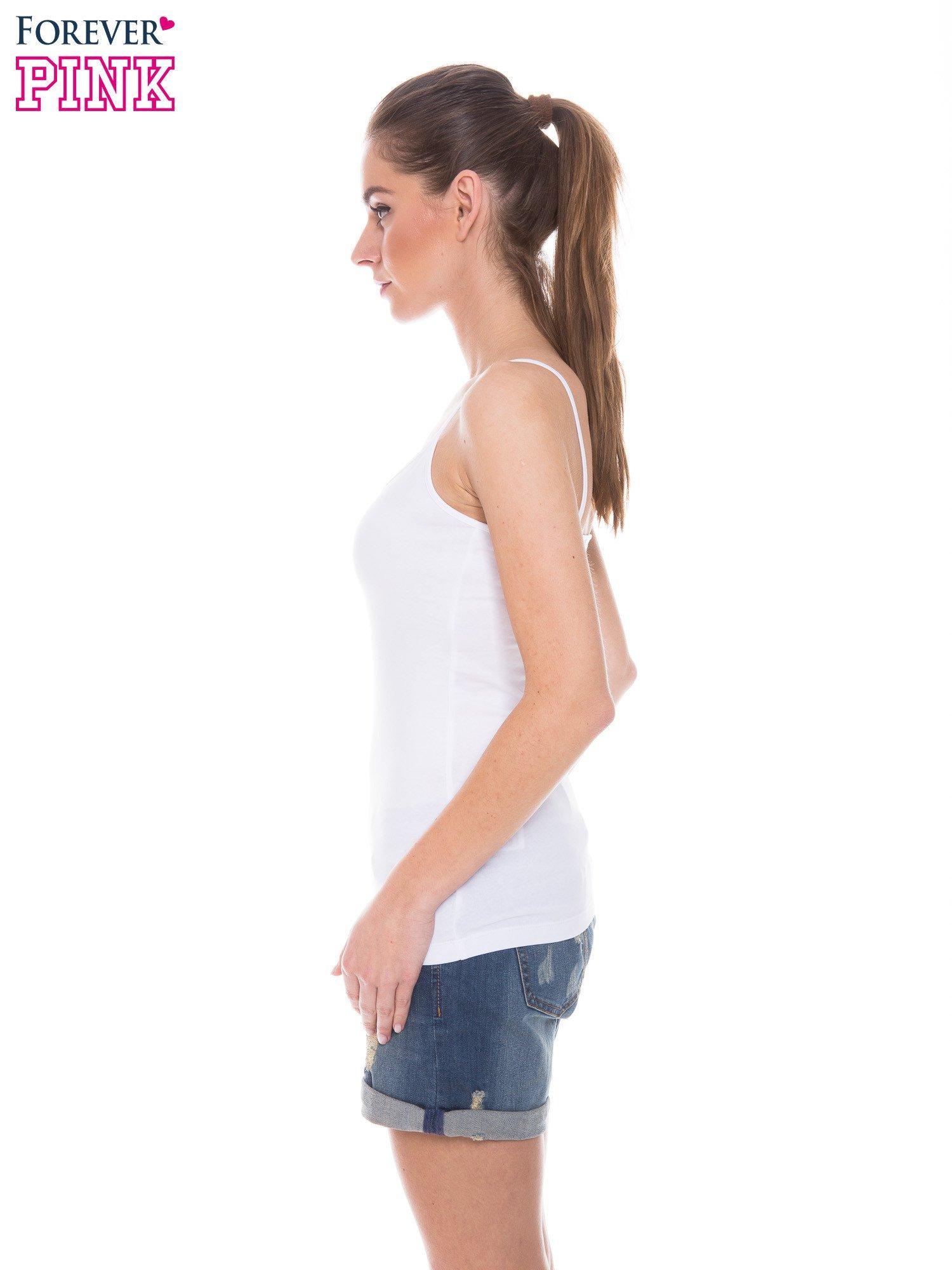 Biały top na cienkich ramiączkach                                  zdj.                                  2