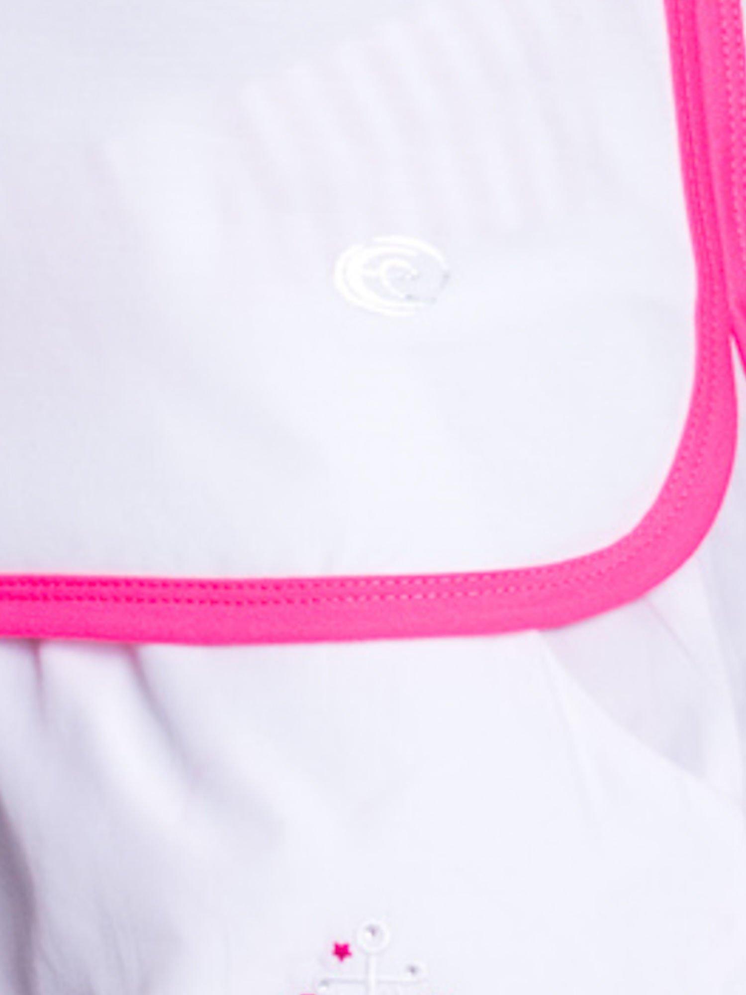 Biały top sportowy z różowym obszyciem z dżetami                                  zdj.                                  6