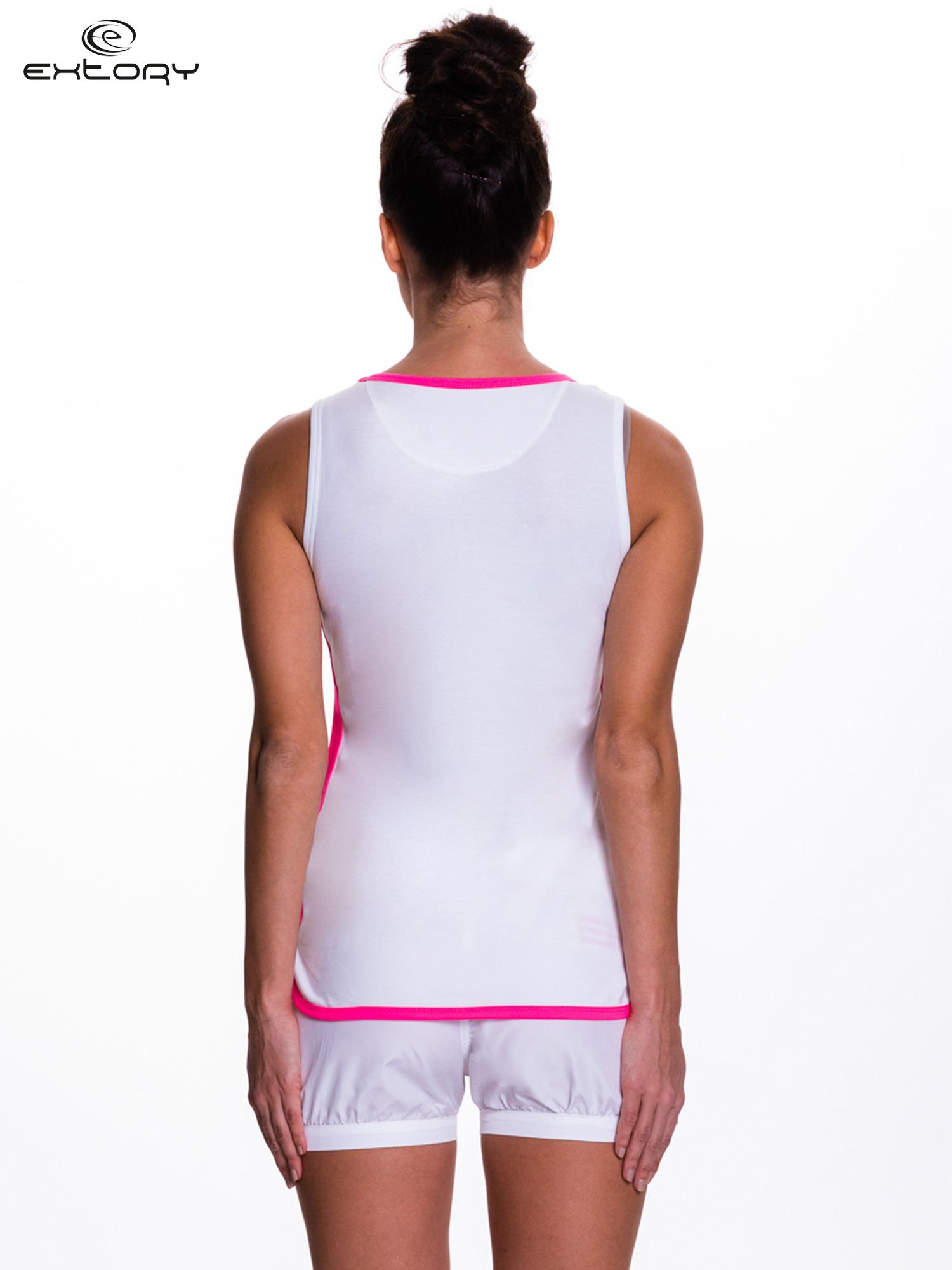 Biały top sportowy z różowym obszyciem z dżetami                                  zdj.                                  4