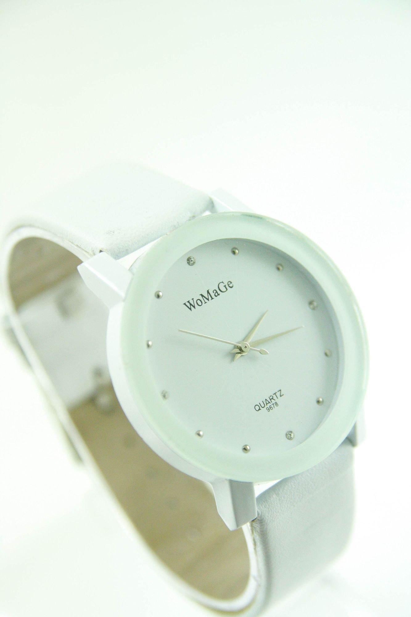 Biały zegarek damski z cyrkoniami na skórzanym pasku                                  zdj.                                  2