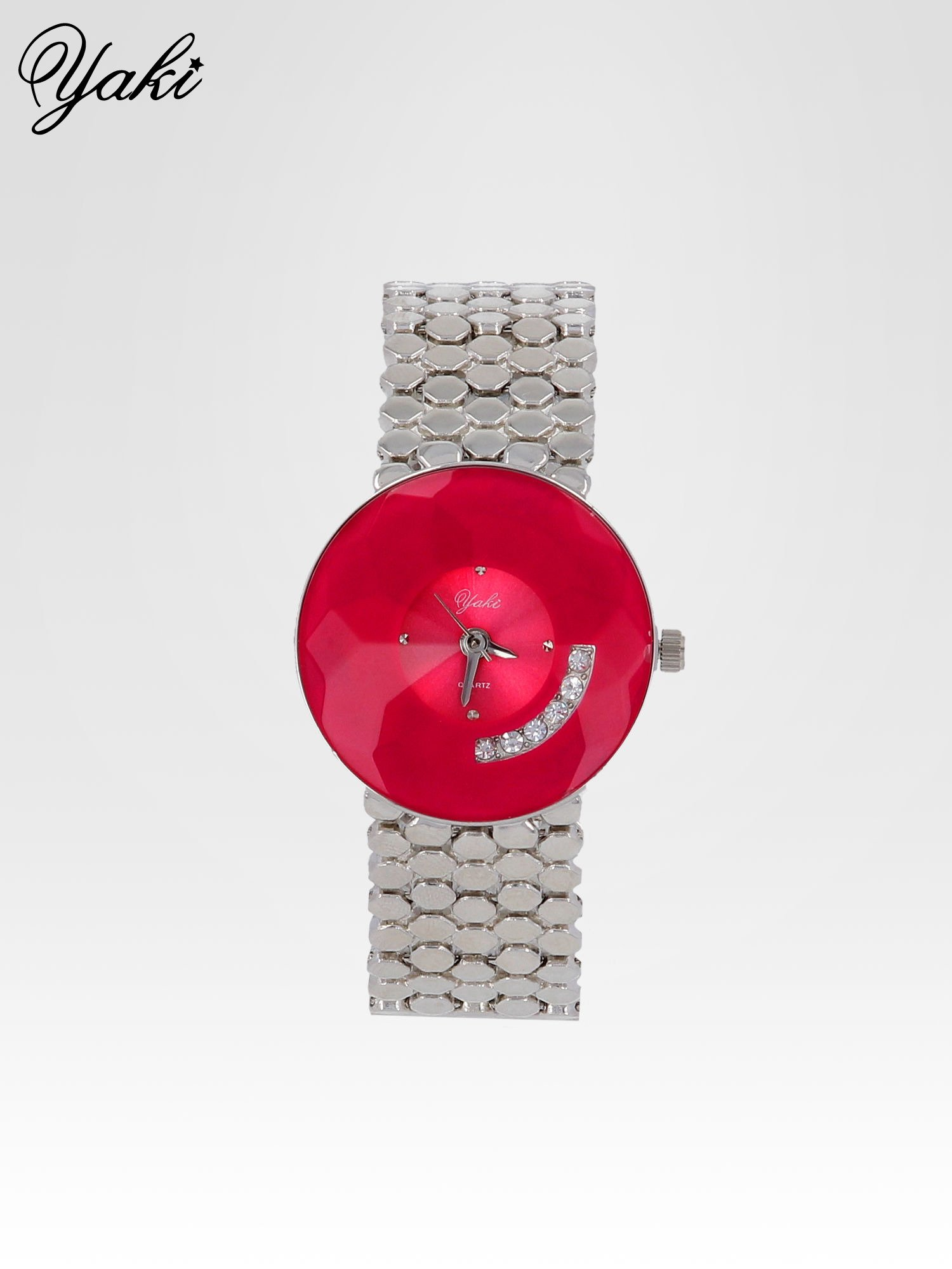 Biżuteryjny srebrny zegarek damski z czerwoną tarczą z cyrkoniami                                  zdj.                                  1