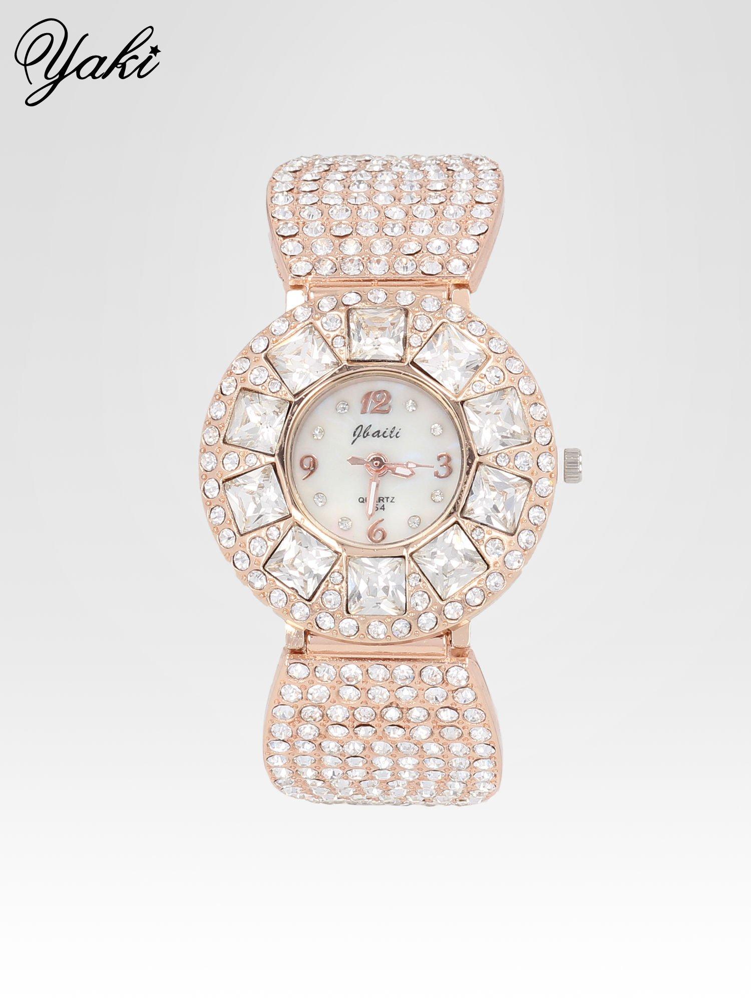 Biżuteryjny zegarek damski z różowego złota na bransolecie z cyrkoniami i kryształkami                                  zdj.                                  1