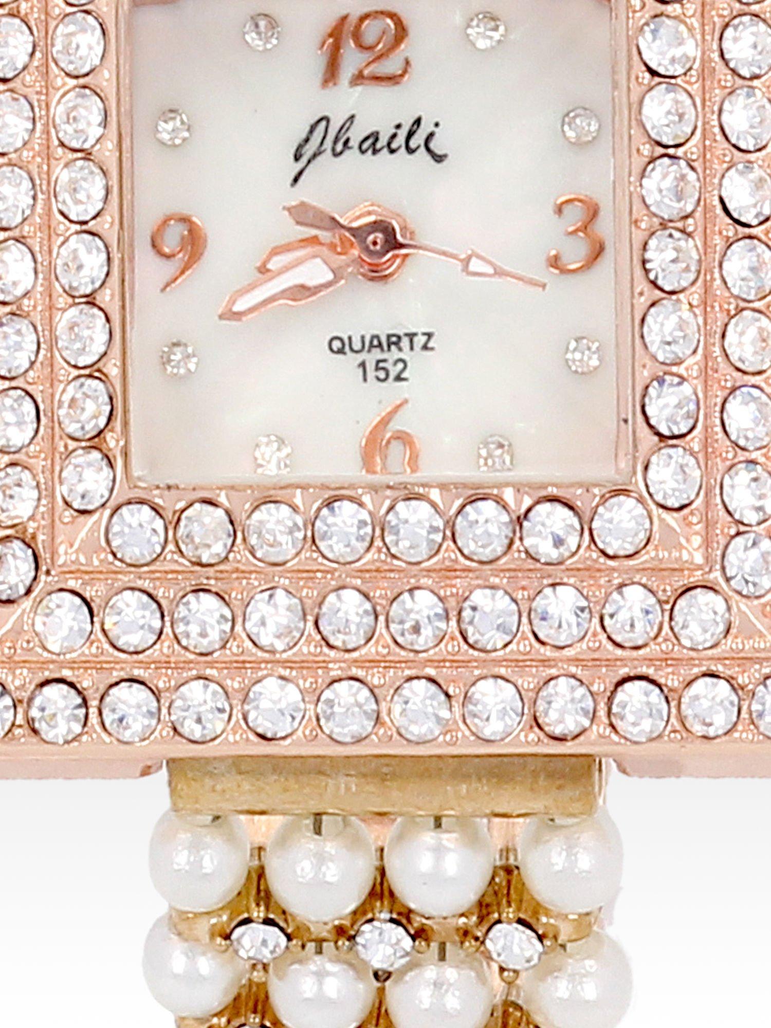Biżuteryjny zegarek damski z różowego złota na bransolecie z cyrkoniami i perłami                                  zdj.                                  5