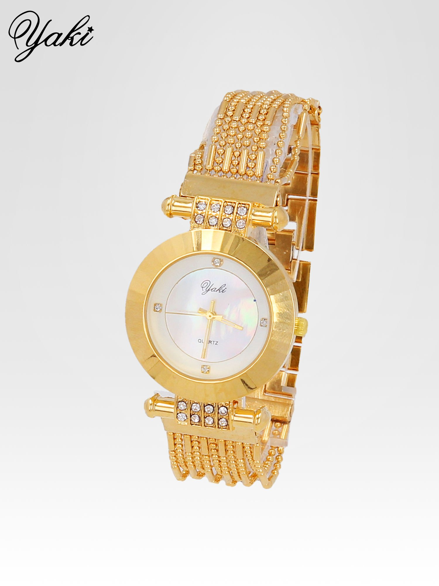 Biżuteryjny złoty zegarek damski z białą tarczą                                  zdj.                                  2