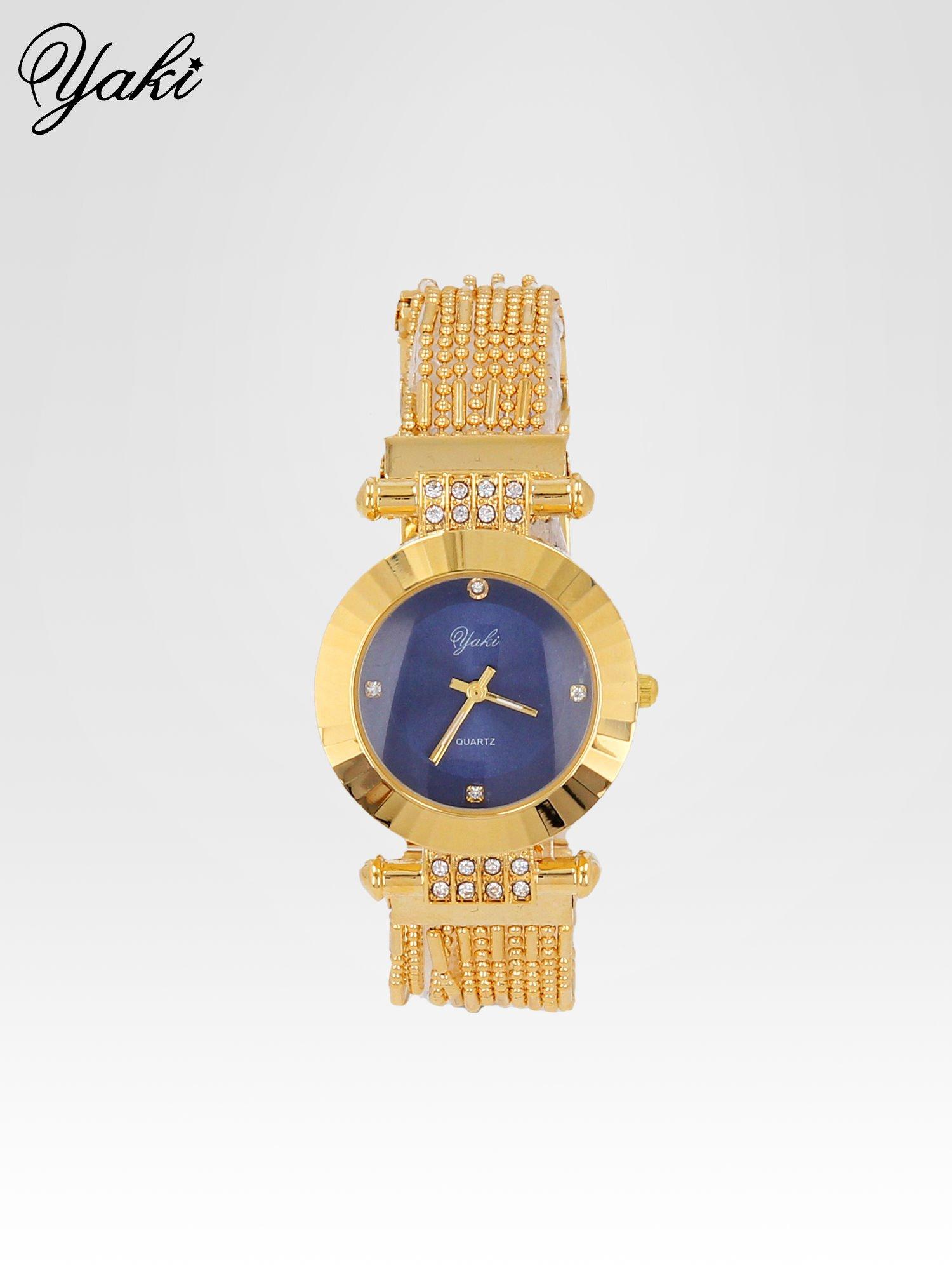Biżuteryjny złoty zegarek damski z granatową tarczą                                  zdj.                                  1