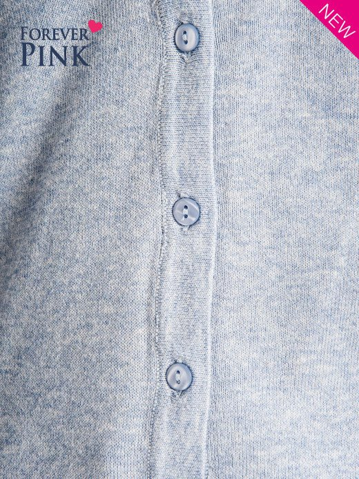 Błękitny kardigan zapinany na guzki z dekoltem w literę V                                  zdj.                                  5