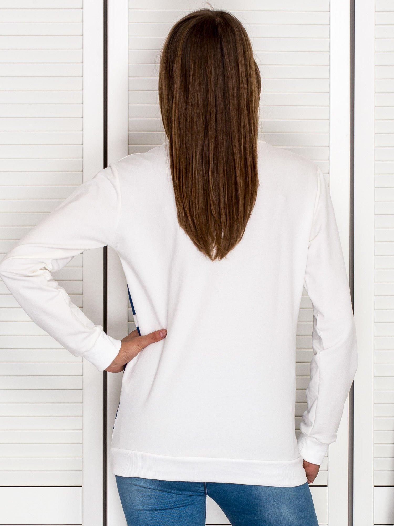 Bluza damska ze srebrnym nadrukiem ecru
