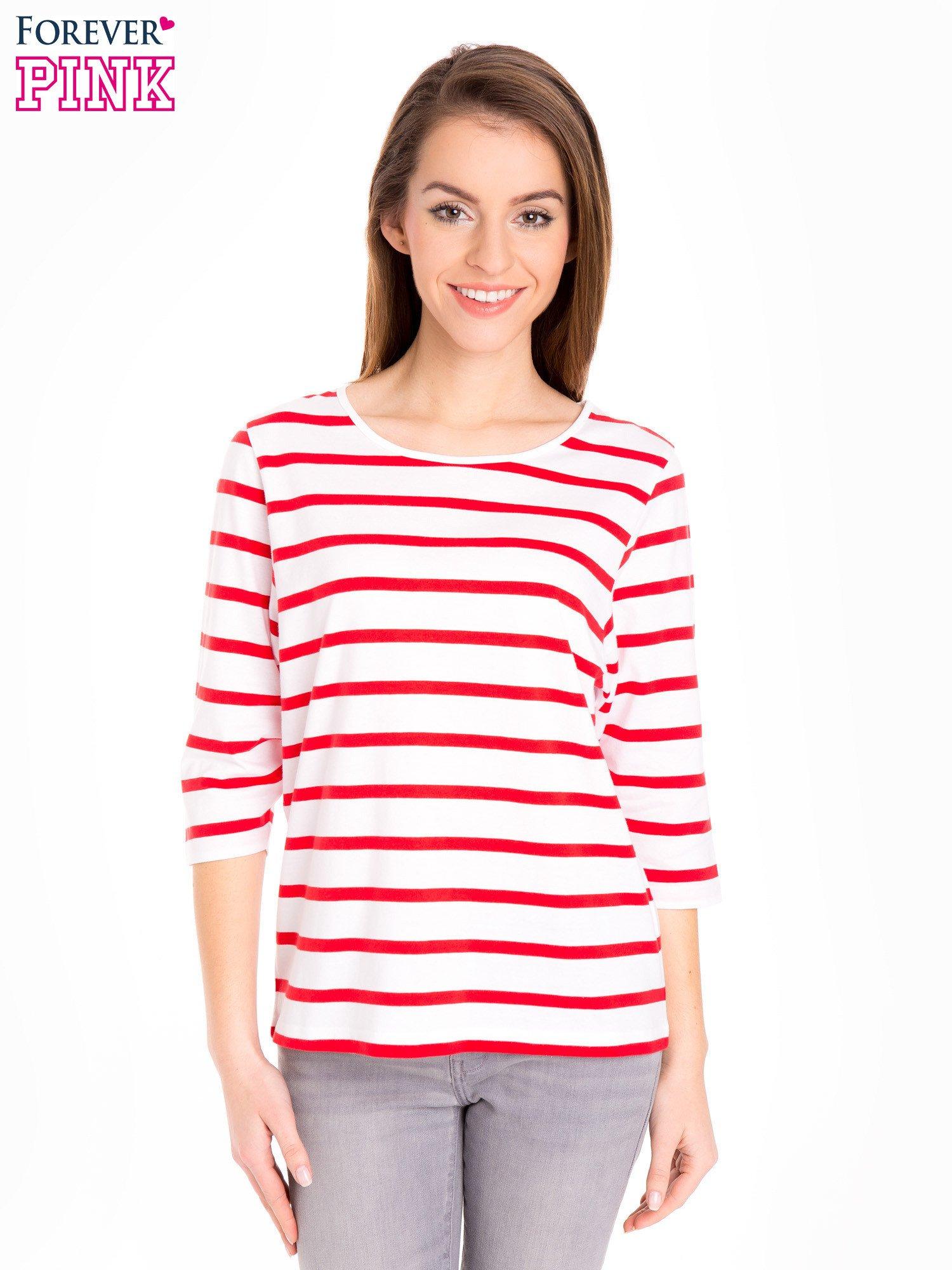 3ad38e94 Bluzka basic w biało-czerwone paski