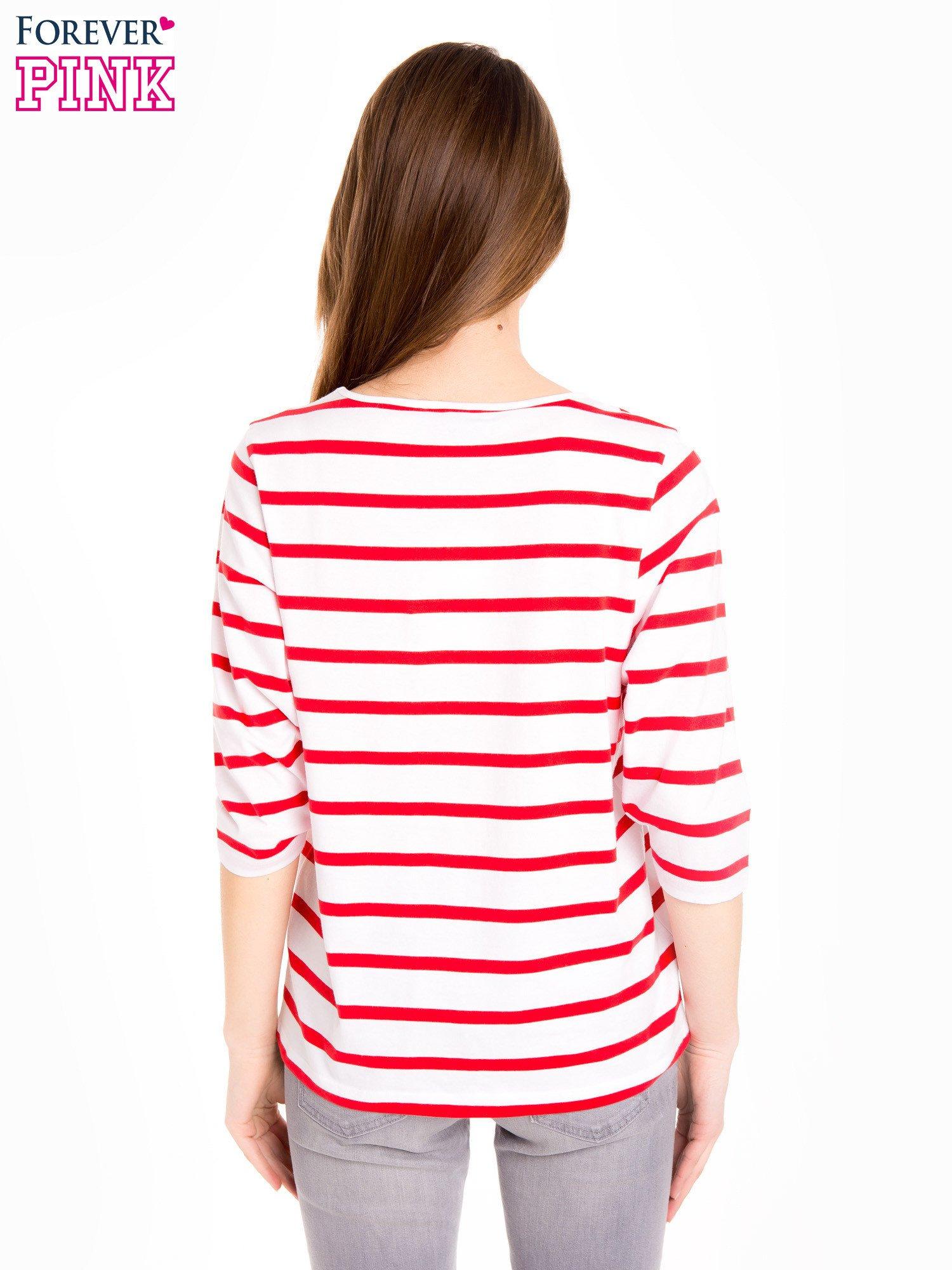 Bluzka basic w biało-czerwone paski                                  zdj.                                  4