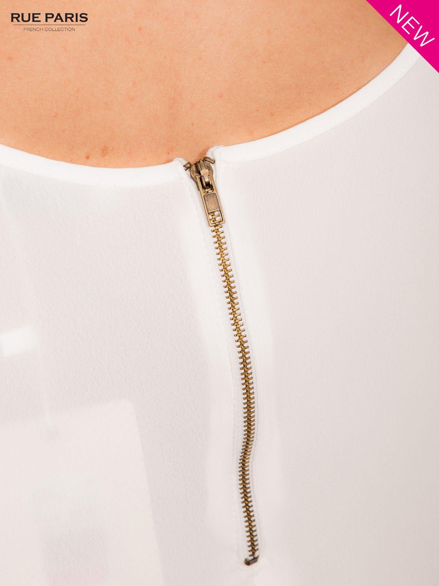 Bluzka ecru z łączonych materiałów z suwakiem z tyłu                                  zdj.                                  6