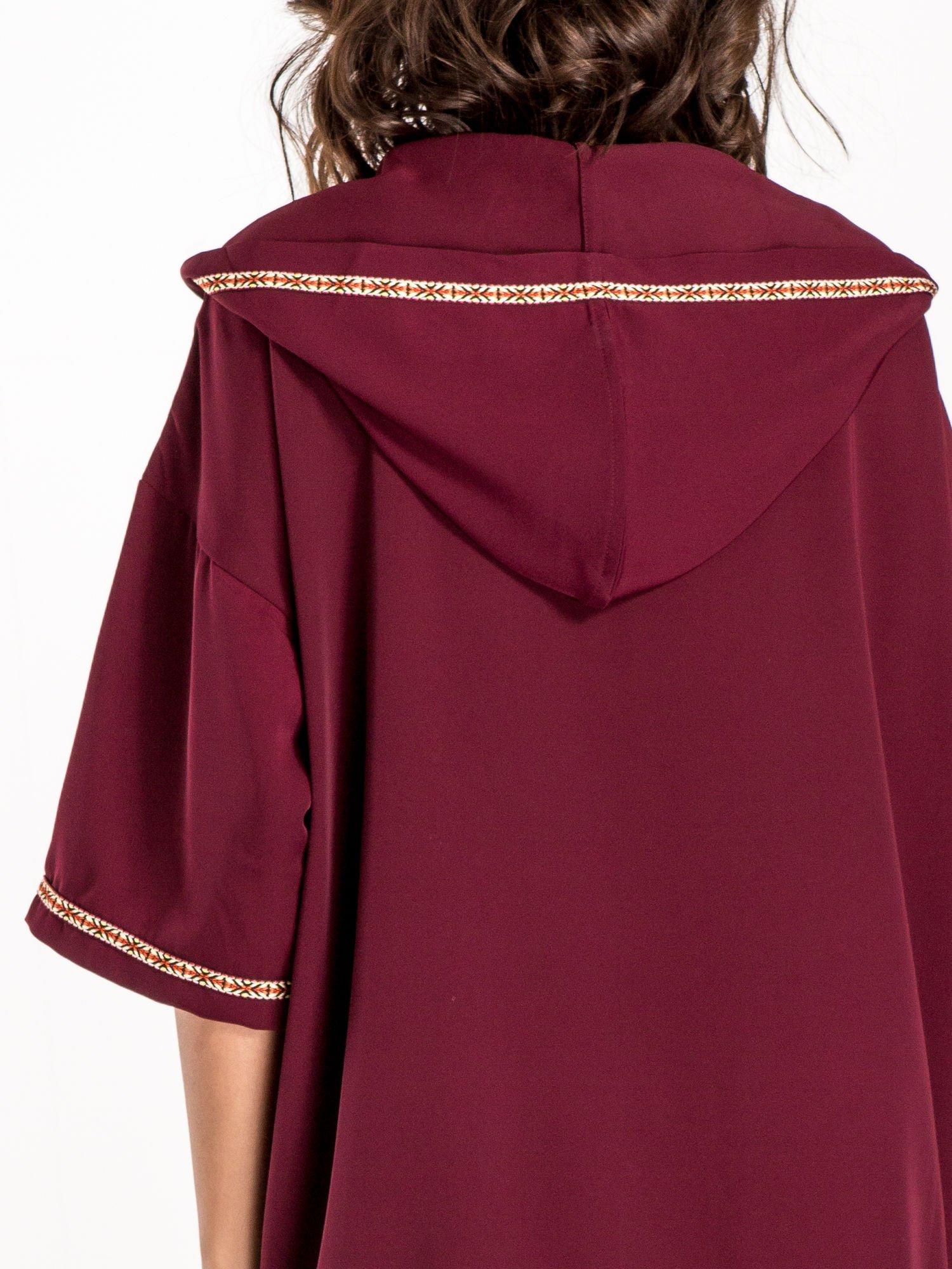 Bordowa bluza z kapturem w stylu boho                                  zdj.                                  7