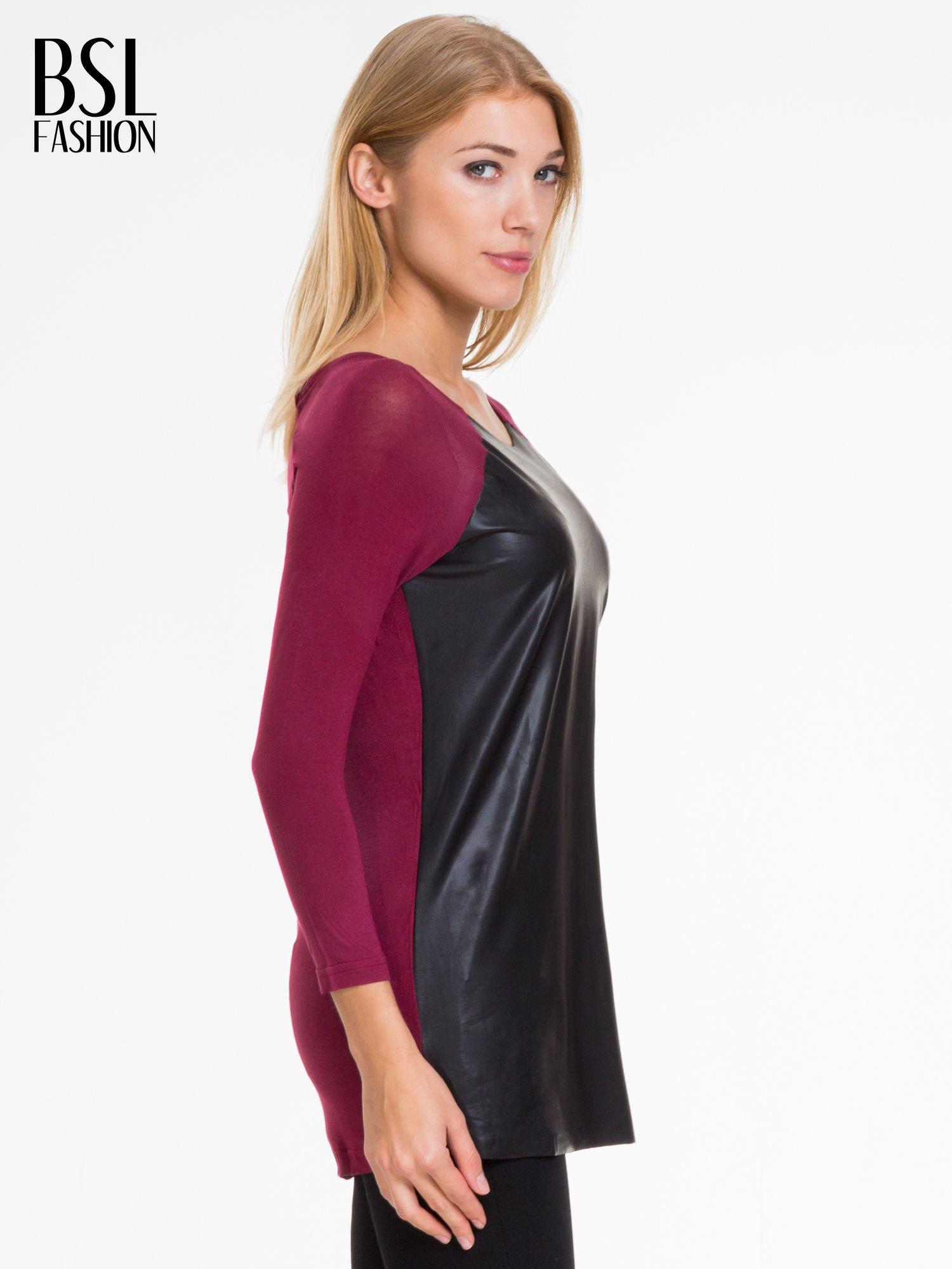 Bordowa bluzka ze skórzanym czarnym przodem                                  zdj.                                  3