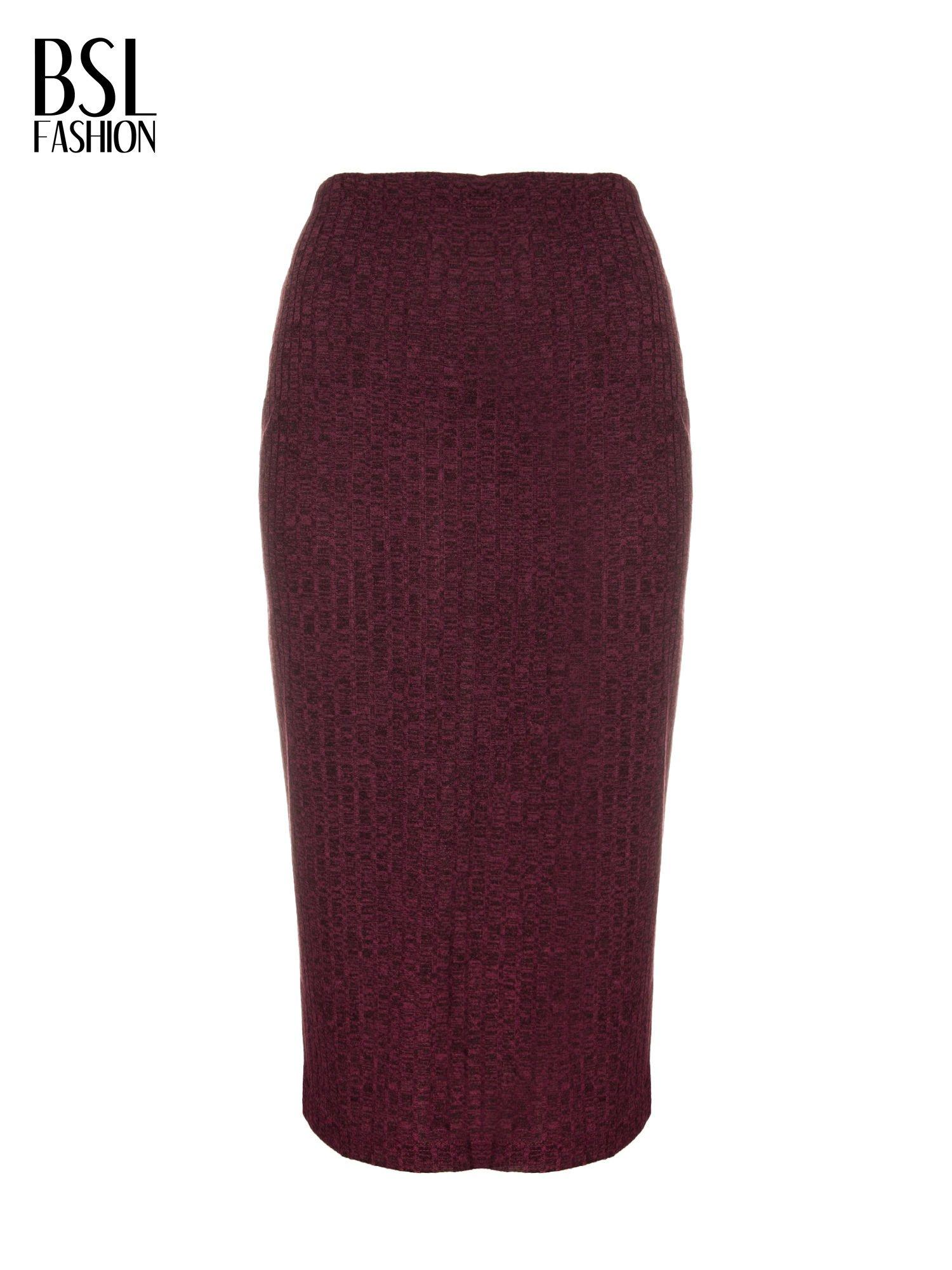 Bordowa dzianinowa spódnica za kolano                                  zdj.                                  5