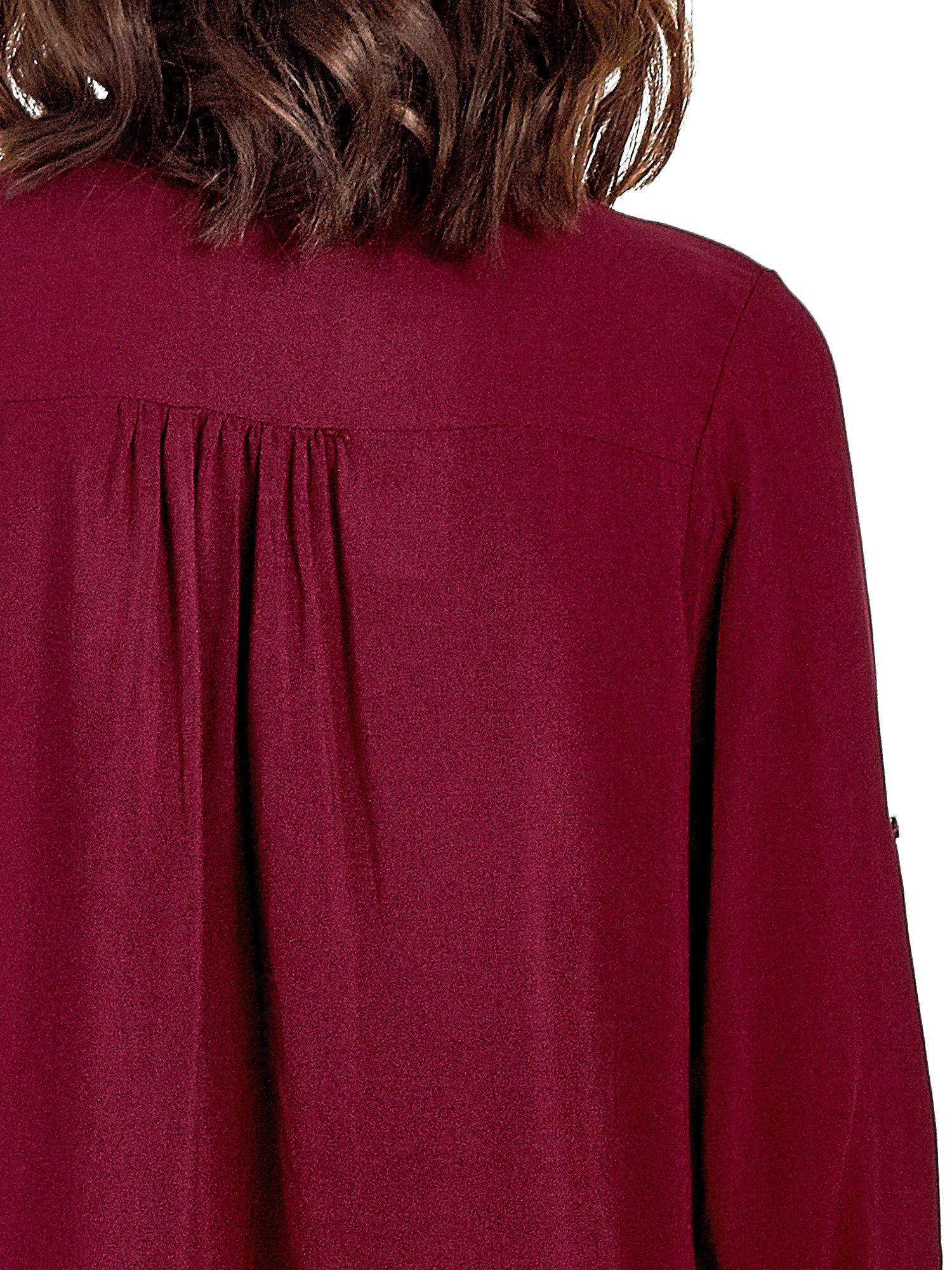 Bordowa koszula ze wzorzystą wstawką w stylu etno                                  zdj.                                  7